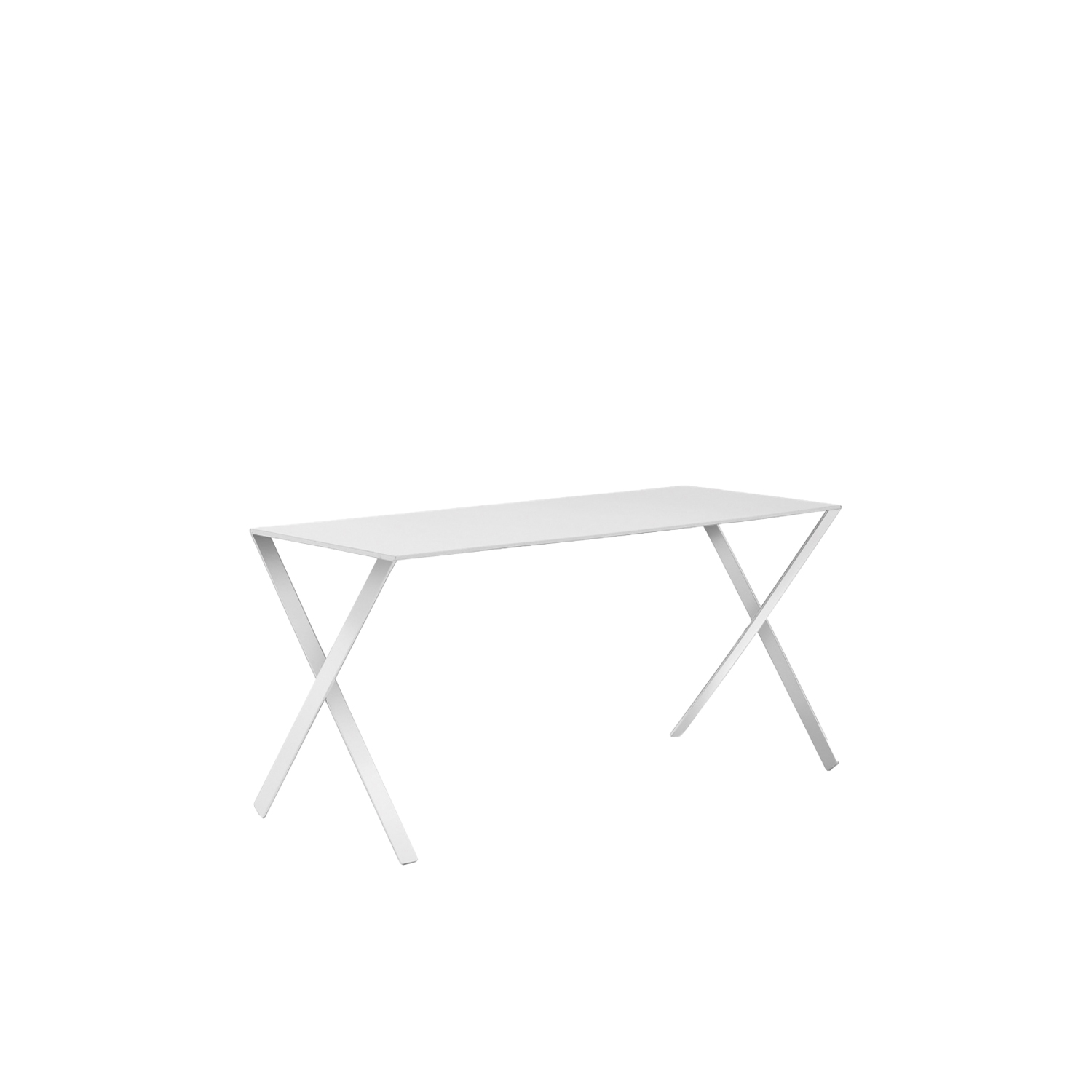 Bambi Table - The Bambi table, which can also be used as a desk, was designed by Nendo. Completely matte lacquered in the colours white, anthracite and mud, the table is composed of a top made of folded laser-cut aluminium plate with a metal support base and legs in metal extrusion.