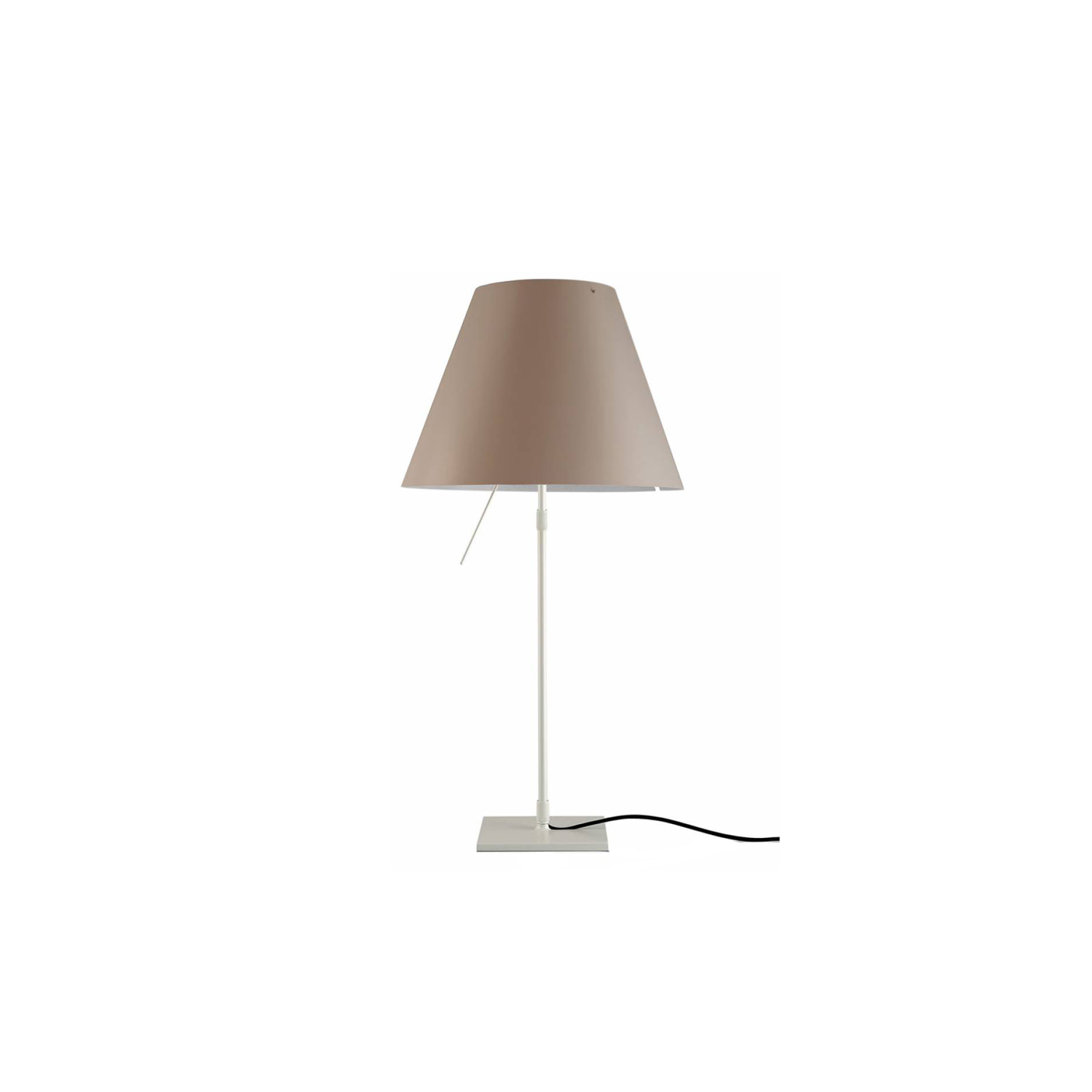 Costanza Table Lamp - Blending tradition and technology, Costanza reinterprets a classic image in a contemporary way. The interchangeable polycarbonate lampshade emits warm, pleasant light. The sensorial dimmer rod turns the lamp on and off, alternating four light intensity levels. Thanks to low energy consumption and the long life of the light source, the LED module with an aluminium heat sink works perfectly with the classic polycarbonate lampshade.  Shades come in different finishes, please enquire for more information  | Matter of Stuff