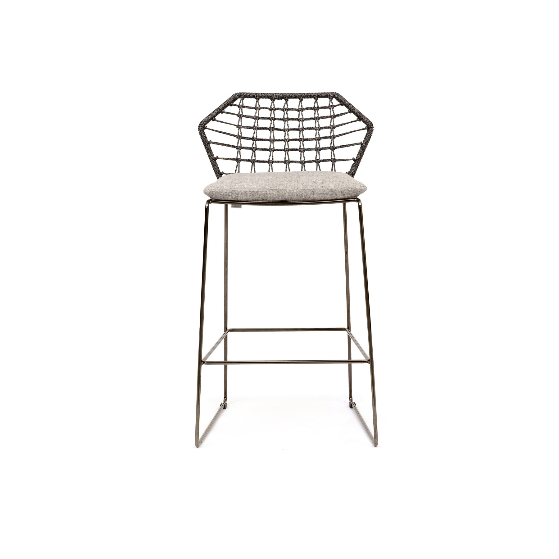 New York Soleil Garden High Stool - New York Soleil is a high fabric garden stool, part of the homonymous collection.  The New York Soleil outdoor collection is a line of exclusive woven seating made entirely by hand. New York Soleil is the product of careful research into materials and the desire to maintain the unique original design. Woven nautical cords of different colors softly cover the painted metal rod structure. The ergonomic cushion is covered in a quick-drying, non-absorbent technical fabric, and its superior performance in the Martindale test guarantees abrasion resistance as well as hygienic breathability. In 2020 the collection adds a new element: the Lounge Armchair.  New York Soleil embodies outdoor living with a casual style and colorful charm. It is available in different blends and solid colors. The collection includes a sofa, a lounge armchair, an armchair, a pouf, a chair with or without armrests and a stool. Fully removable covers.  Materials Structure in 16 mm wire drawn for lounge armchair; in 12 mm wire drawn for sofa, armchair and pouf; in 11 mm wire drawn for chair with or without armrests and for stools. For all elements, structure is covered with plaiting of 4 mm diameter of polyester ropes. For sofa, armchair, chairs and stools, seat cushion is filled with a special 30 water-draining polyurethane, covered with polyester fiber 300gr/sqm on 100% polyester lining. Lounge armchair's seat cushion is made with flexible glass fiber slats inserted in the core of variable density polyurethane foam, covered with 600 gr/sqm polyester fiber and clothed with water-repellent heat-sealed fabric. Back and arm rests cushions are in polyester fiber in TNT fabric cover, clothed with water-repellent heat-sealed for fabric provided with a breathable band. | Matter of Stuff