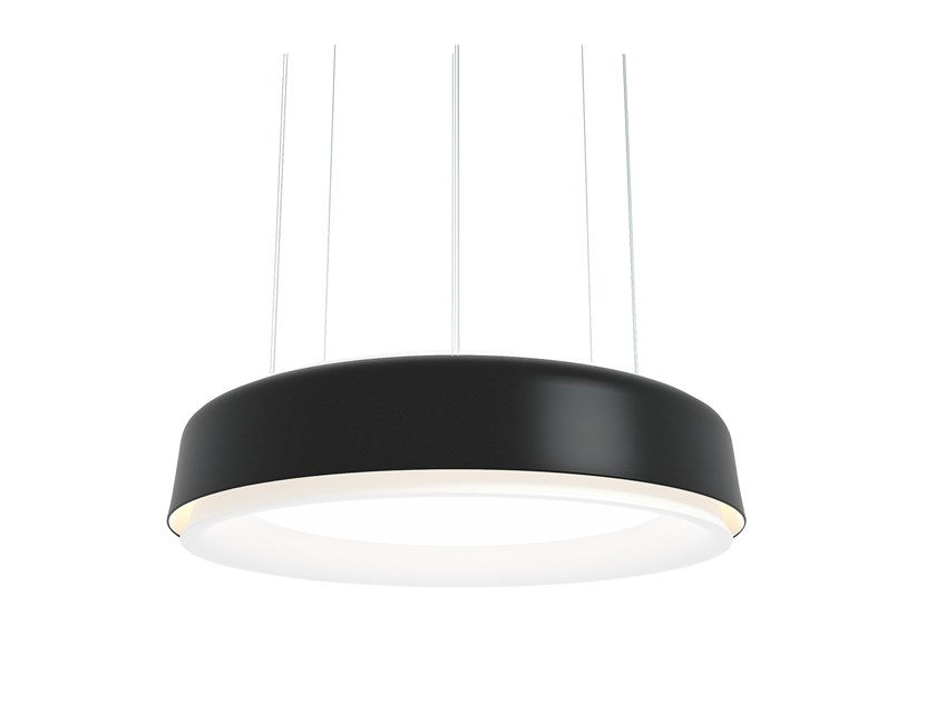LP Grand Pendant Light - The circular luminaire is perceived as a set of coinciding rings based around a centrally positioned horizontal diffuser. A large angled reflector circumferences the diffuser and reduces the contrast around the edge. A revolved top reflector is perfectly curved to distribute uplight in a wide angle. A coloured outer shade surrounds the reflector and creates an interreflection of light resulting in a graceful glow of light on the outside of the top and bottom reflector. In total, it creates four rings of light surrounding the central diffuser. | Matter of Stuff