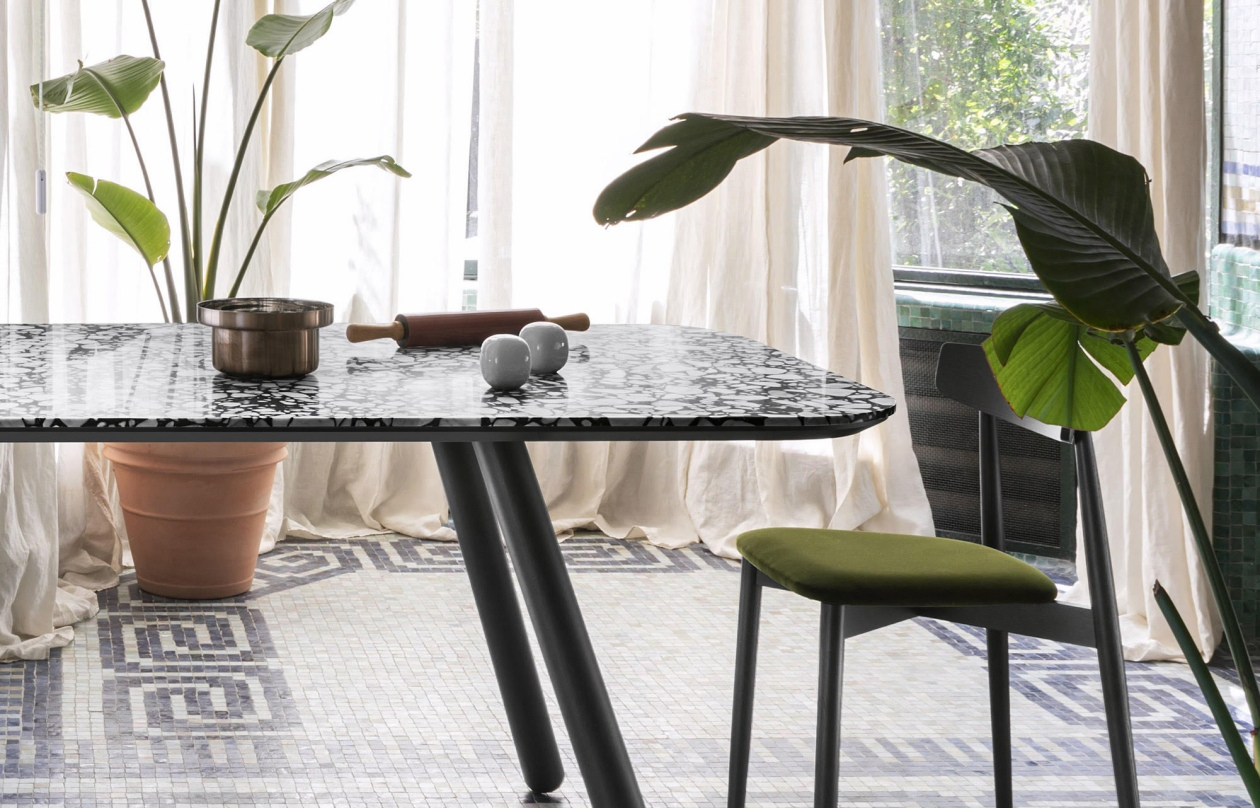 Pixie Marble Dining Table - Pixie is available with oval or rectangular top in Palladio Moro Marble. The legs are lacquered in natural beech, grey aniline or black aniline.  | Matter of Stuff