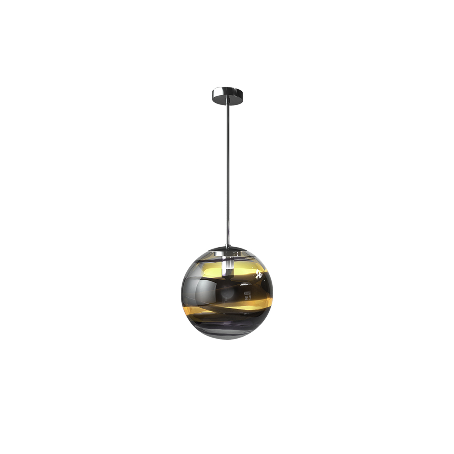 Rotondo Pendant Light - Bold shades of Black blend together with the hues of Crystal or Tea of the sphere. They enclose it, surrounding it with thin and thick lines, alternating in a seemingly random fashion, like belts or laces. A fine interplay of transparencies gives a warm and sensual glow to light passing through the glass. Rotondo is exclusively available as a pendant light.