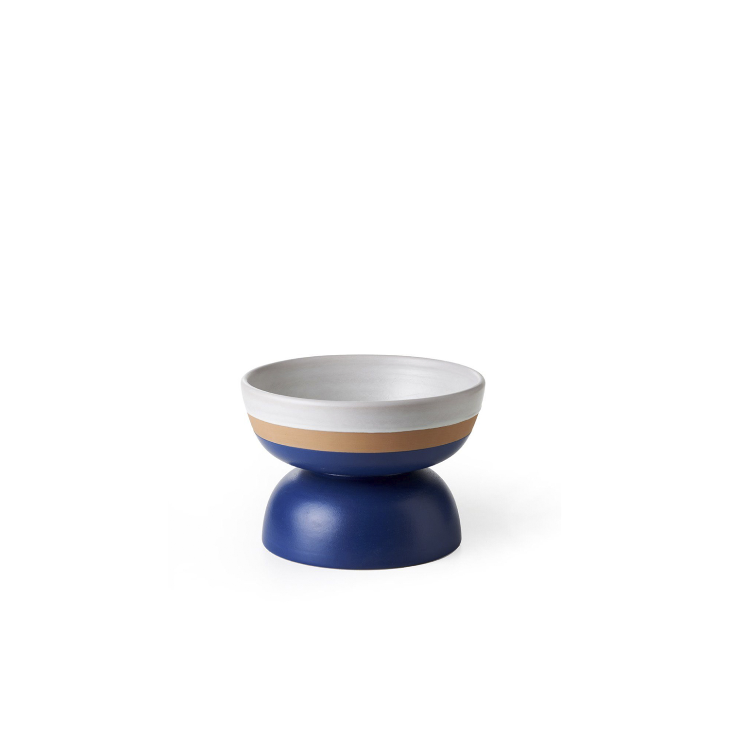 Two-Toned Matt White and Blue Bowl - Centre piece. Hand-turned in red clay. Two-tone matt white and blue glaze. | Matter of Stuff