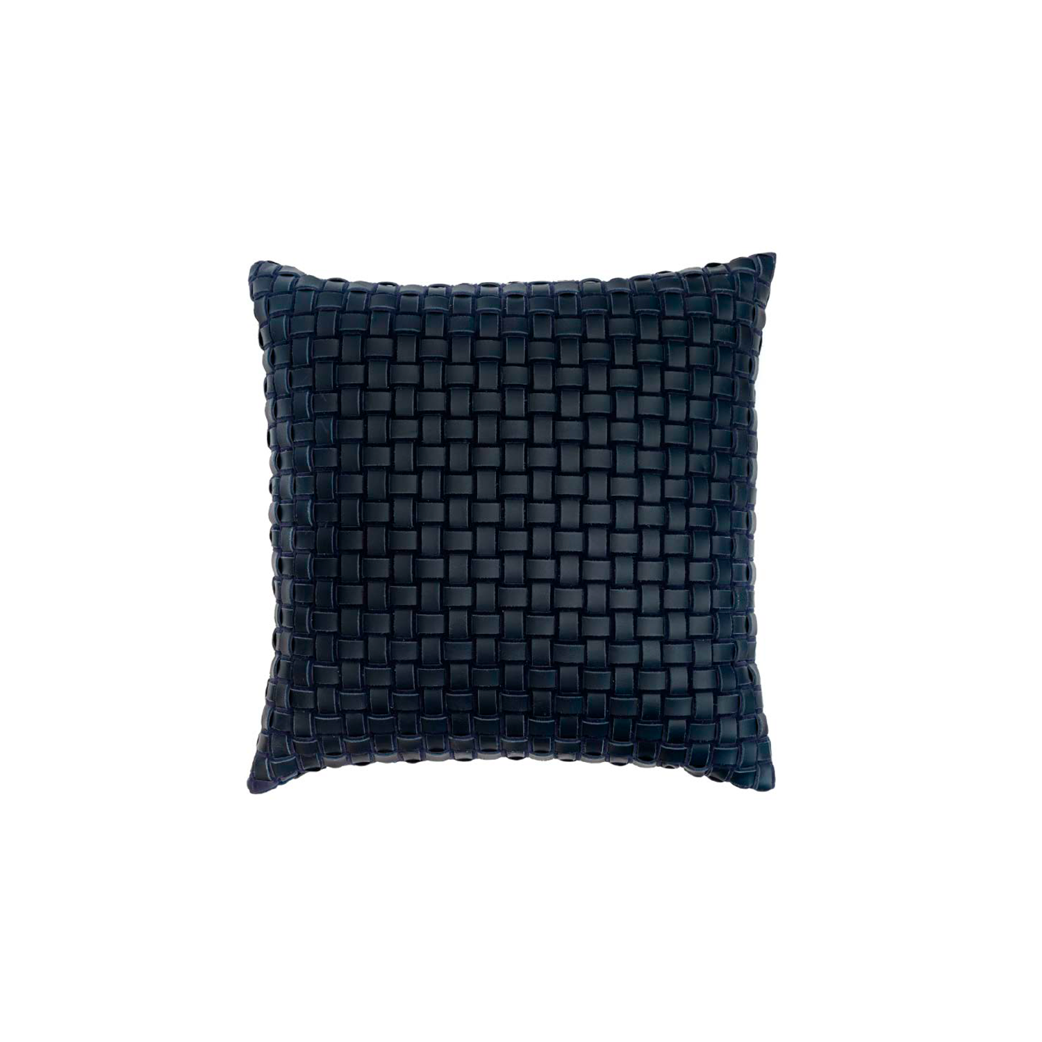 Maxi Mosaico Duplo Woven Leather Cushion Square - The Maxi Mosaico Duplo Woven Leather Cushion is designed to complement an ambient with a natural and sophisticated feeling. This cushion style is available in pleated leather or pleated suede leather. Elisa Atheniense woven handmade leather cushions are specially manufactured in Brazil using an exclusive treated leather that brings the soft feel touch to every single piece.   The front panel is handwoven in leather and the back panel is 100% Pes, made in Brazil.  The inner cushion is available in Hollow Fibre and European Duck Feathers, made in the UK.  Please enquire for more information and see colour chart for reference.   | Matter of Stuff