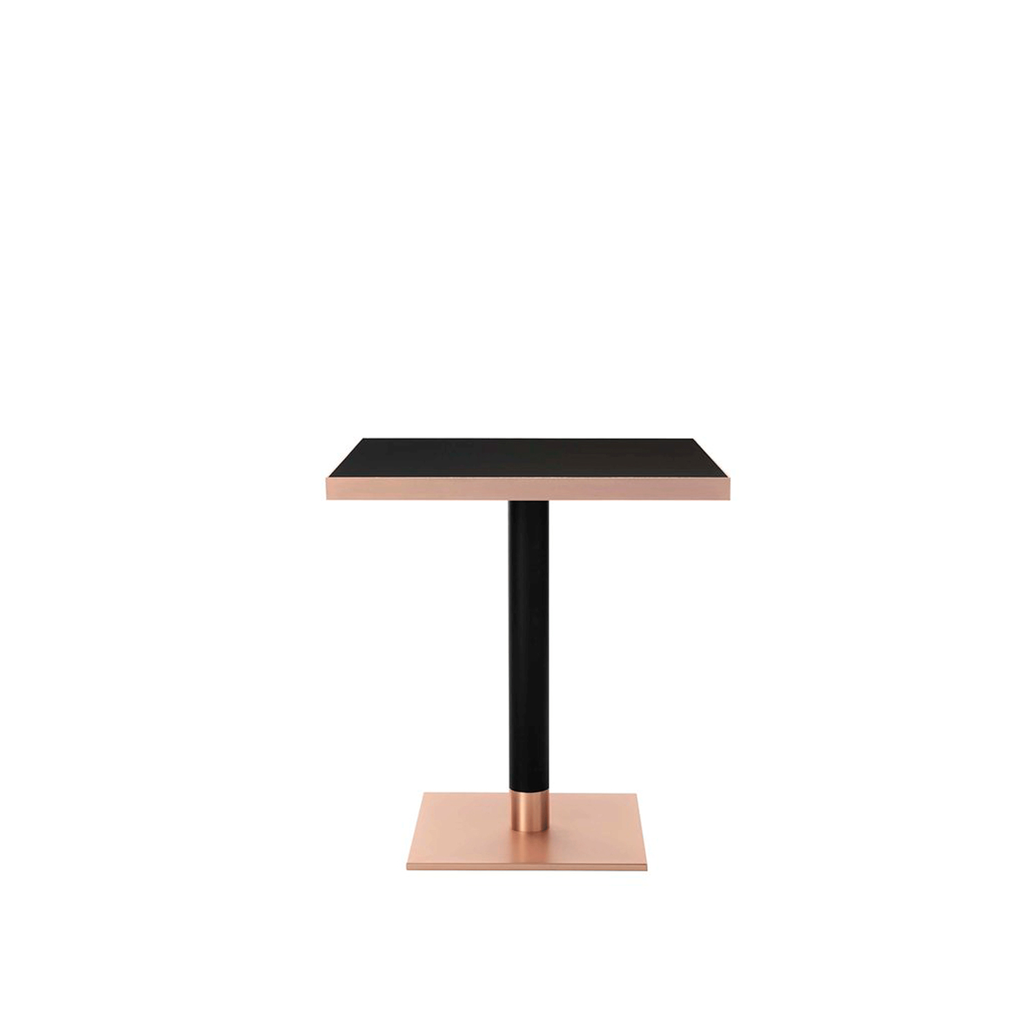 Sherry Table - This elegant bar table can be used both in commercial spaces or in a home as a countertop or breakfast nook. Its central stem in metal is lacquered black with epoxy powders. The square base and the frame of the tabletop are in metal with a copper finish. The tabletop in wood features the same black colour as the structure. This piece is available in various customizations: the variable heights, a base and top frame with either a bronze or brass finish, a single stem in solid wood with a lacquered finish, or a marble tabletop. Please refer to the Concierge about these options and pricing.  | Matter of Stuff