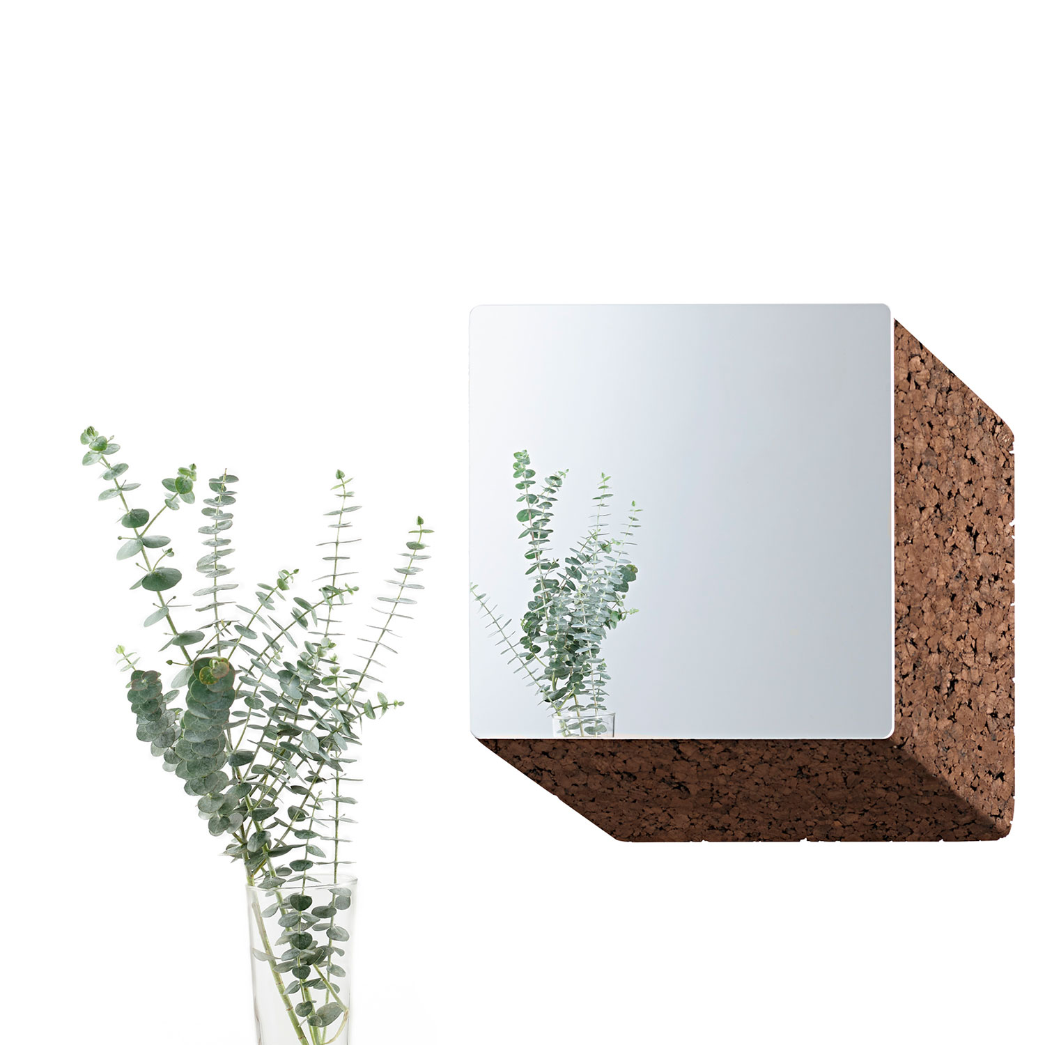 """Exo Square Mirror - It is only used cork of the branches (falca) for the manufacture of cork granules. These are block clusters in autoclave, being 100% natural process, without use of additives. Technology, developed by Sofalca, consists of injecting water vapour through the pallets that will expand and agglutinate with the resins of the cork itself. This """"cooking"""" gives also dark colour to the agglomerated cork, like chocolate. In the production of steam I used biomass, obtained on milling and cleaning the falca, what makes it truly ecological production and without waste, 95% energy self-sufficient. As a super-material, cork offers so many advantages, because in addition to its excellent thermic, acoustic insulation and anti vibration characteristic, it is also a CO2 sink playing a key-role in the environment. 