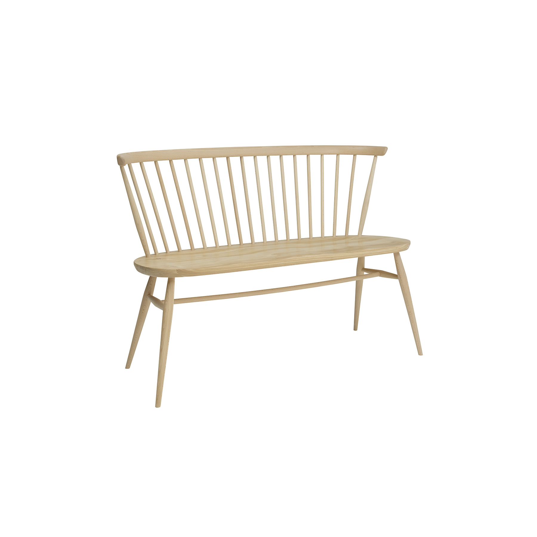Originals Love Seat - The Ercol Originals are pieces of timeless and classic design that never date or show their age. It is furniture that is as relevant and as functional now as it was when it was created in the 1950s and 1960s. This furniture was designed by Ercol's founder, Lucian Ercolani, who drew for his inspiration on the time-proven local design and craft in the Chiltern Hills around where he lived and built his first factory in 1920 in High Wycombe. Using the strength of beech and the beauty of elm he carried this definition on into a huge variety of dining, kitchen, and school chairs and then extended the idiom into the low easy chair range epitomised by the 206 armchair and the studio couch. The beauty of the colour and the grain of the elm took Lucian on to use elm for the tables and cabinets of the Originals and the following Windsor range. As a progression of the Windsor chair, this love seat offers a large, outward shaped ash seat, moulded for comfort. The bent solid ash chair bow is an attractive and unique shape, reminiscent of its Windsor heritage. Turned lists that structure the back of this seat for two and tapered legs give this piece a distinctive Ercol feel. Coupled with the plank table or used as a standalone piece, this unique love seat will be the focus of your living space. This love seat will be finished in your choice of a variety lacquer finishes or in your choice of a selection of painted colour finishes, which protects the timber as well as fitting in with your style and decor. Otherwise, opt for a graded colour finish to create a contemporary edge to your home. To celebrate our 100th anniversary the love seat, designed by Ercol's founder, Lucian Ercolani, will feature an exclusive centenary logo during our anniversary year 2020.  | Matter of Stuff