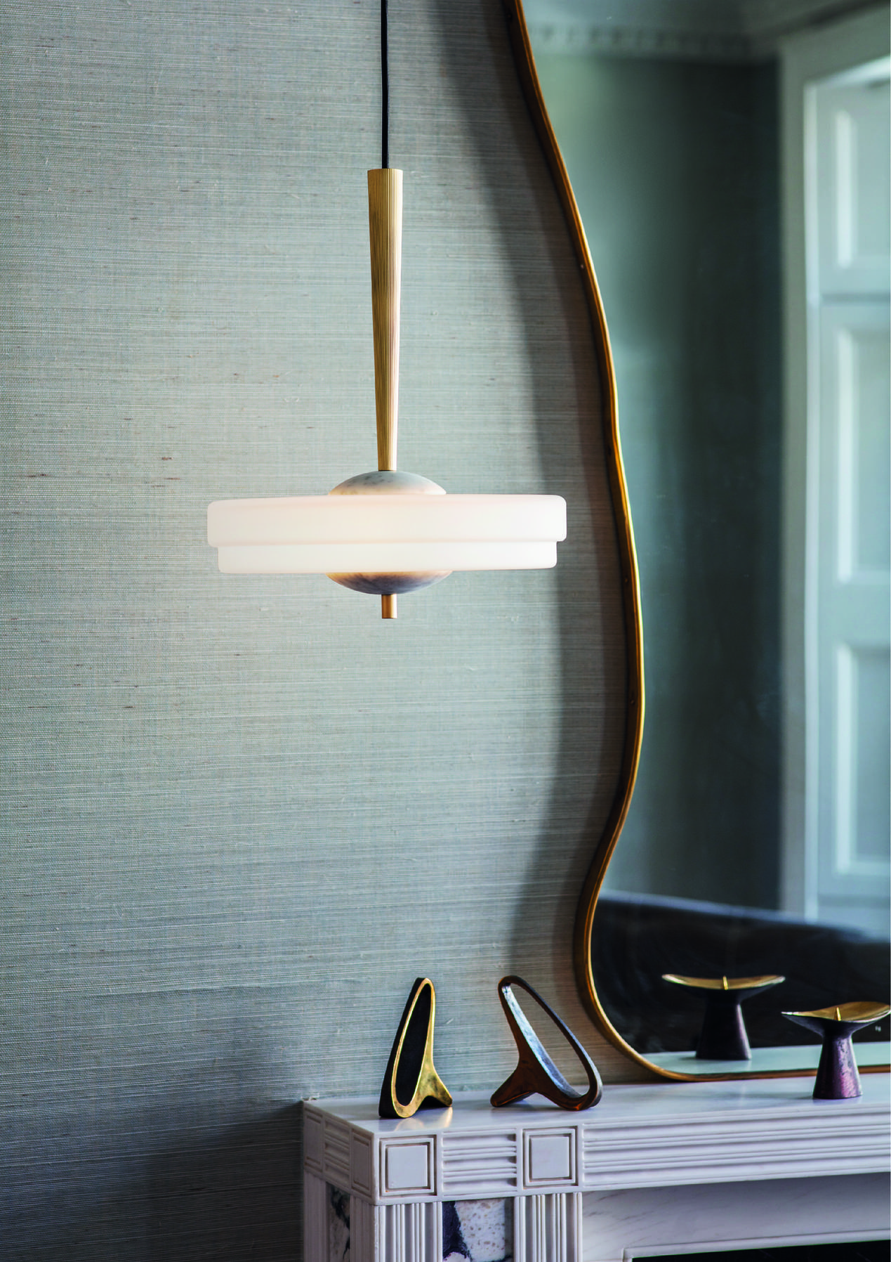 Trave Pendant Light - <p><span>Suspended from a reeded fluted brass stem, the shade of the Trave Pendant Lamp features a two tier soft finish opal glass. The addition of marble highlights produce a light that is soft and ambient for a warm but dramatic atmosphere.</span></p>  | Matter of Stuff