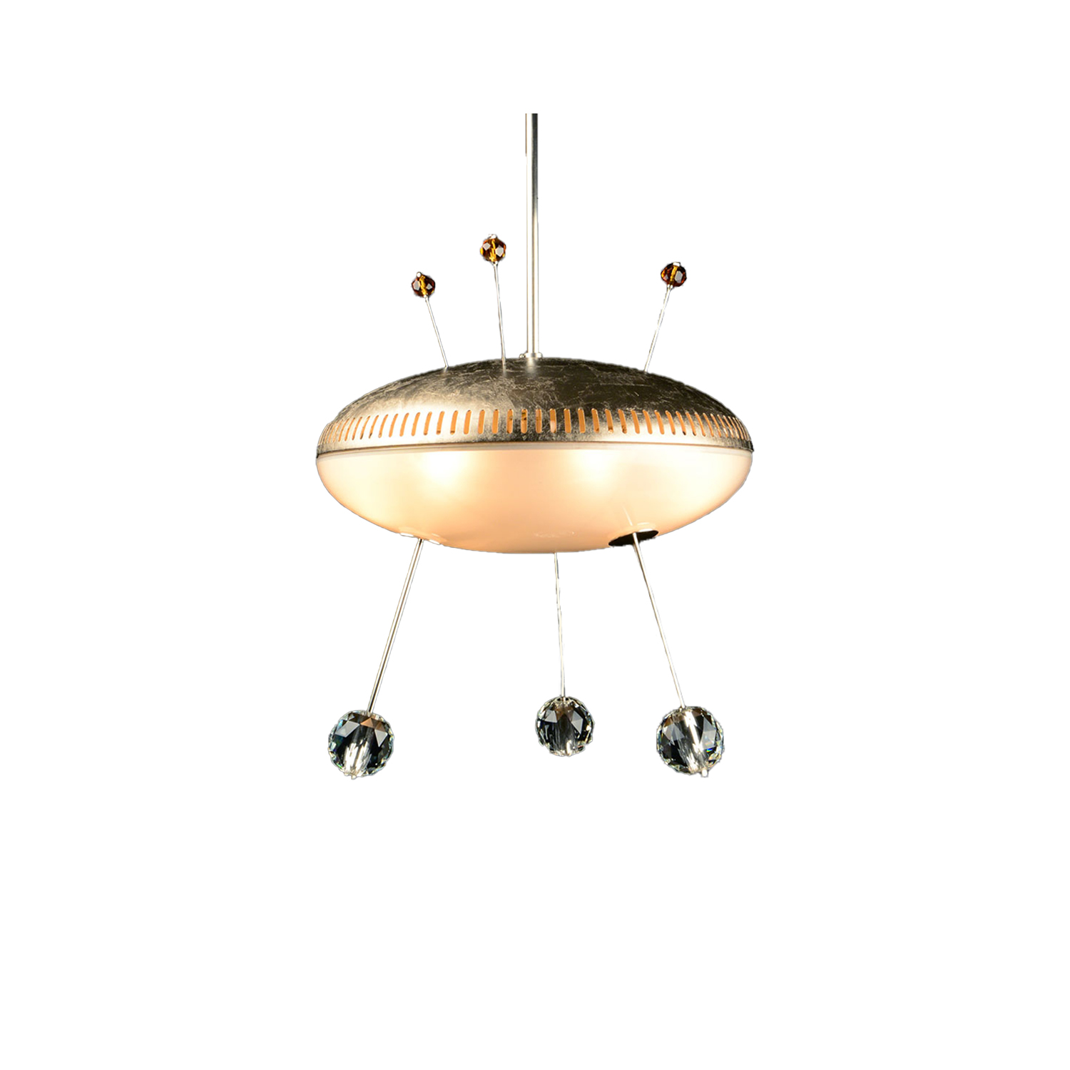 Space Ship Orson Chandelier - <p>The famous chandeliers for the New York Met were inspired by distant galaxies at the height of the space age. The aesthetic universe of the time was heavily influenced by Hollywood B-Movies like The Flying Saucer. With the UFO series we evoke precisely this lost innocent vision of the future. Each 'flying object' has a special element that plays the lead. By differently arranging glass and brass, each chandelier has its own lighting properties. </p>  | Matter of Stuff