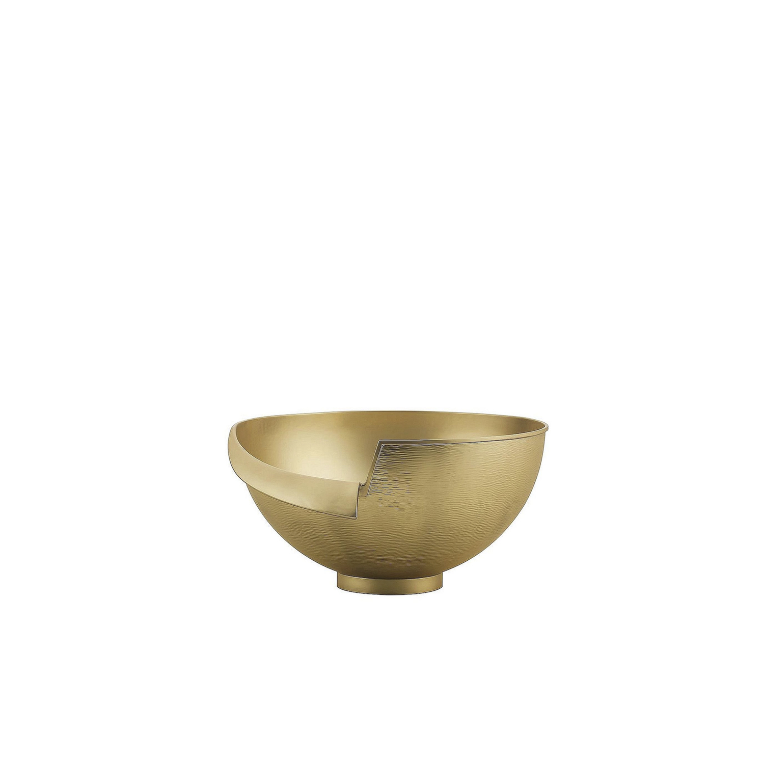 Intuizioni Bowl - This exquisite bowl is entirely made in brass with a satin finish. Its elegant silhouette is enhanced by the warm glow of this noble metal that has been modelled so that a portion of the top edge is curved on itself as if it was torn up. Part of the Masterpieces collection, this piece is one of a limited edition of numbered objects characterized by their innovative design. This versatile piece will be ideal in any décor and its strong personality will enhance the look of any room.  | Matter of Stuff