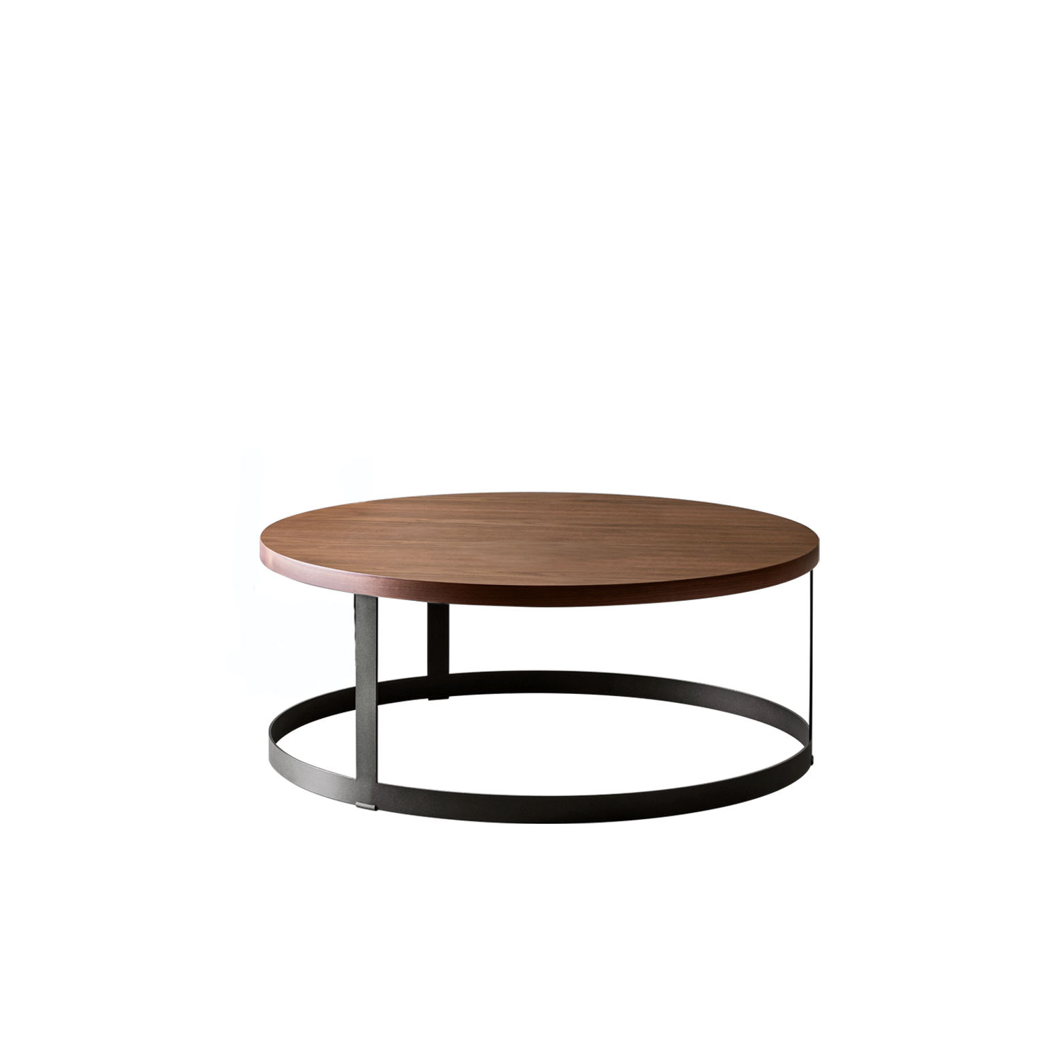 Zero Coffee Table - Zero approaches Eastern philosophy with the contrast between full and empty shapes, capturing the magic of the Japanese Rising Sun with a table top. The structure is made of lacquered steel sheet, the top in extra-clear glass or wood essence.  | Matter of Stuff