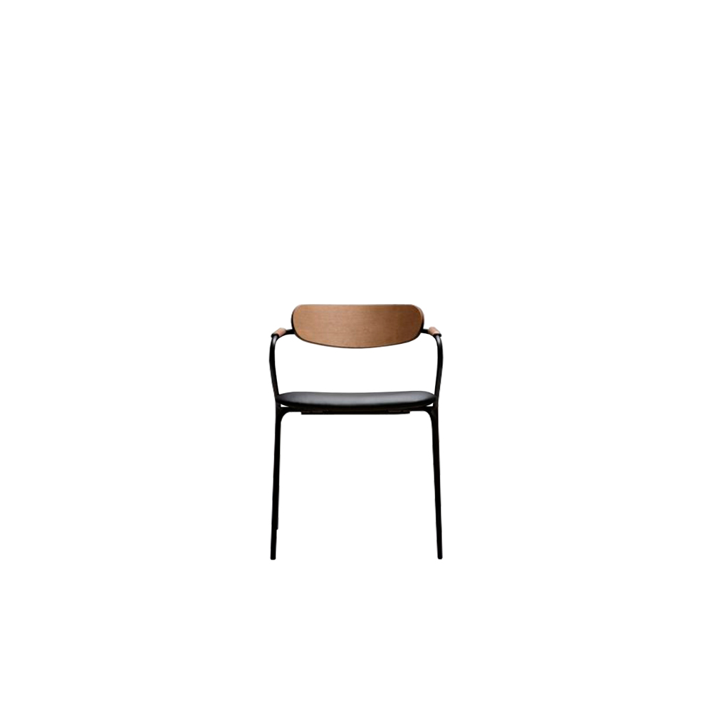 Linea/S Chair - Stackable and slim chair characterized by an essential design. The metal structure gives a modern touch, granting a great design and a careful choice of details, represented by the choice of upholstery, backrest made in ash plywood and solid beech armrests with ornamental purpose.   Suitable for cafes, restaurants & bars, campus, libraries, conference halls and public areas.  Backrest can be customized in a range of finishes: RAL/NCS colour lacquering I Aniline RAL/NCS colour I Acrylic finish  | Matter of Stuff