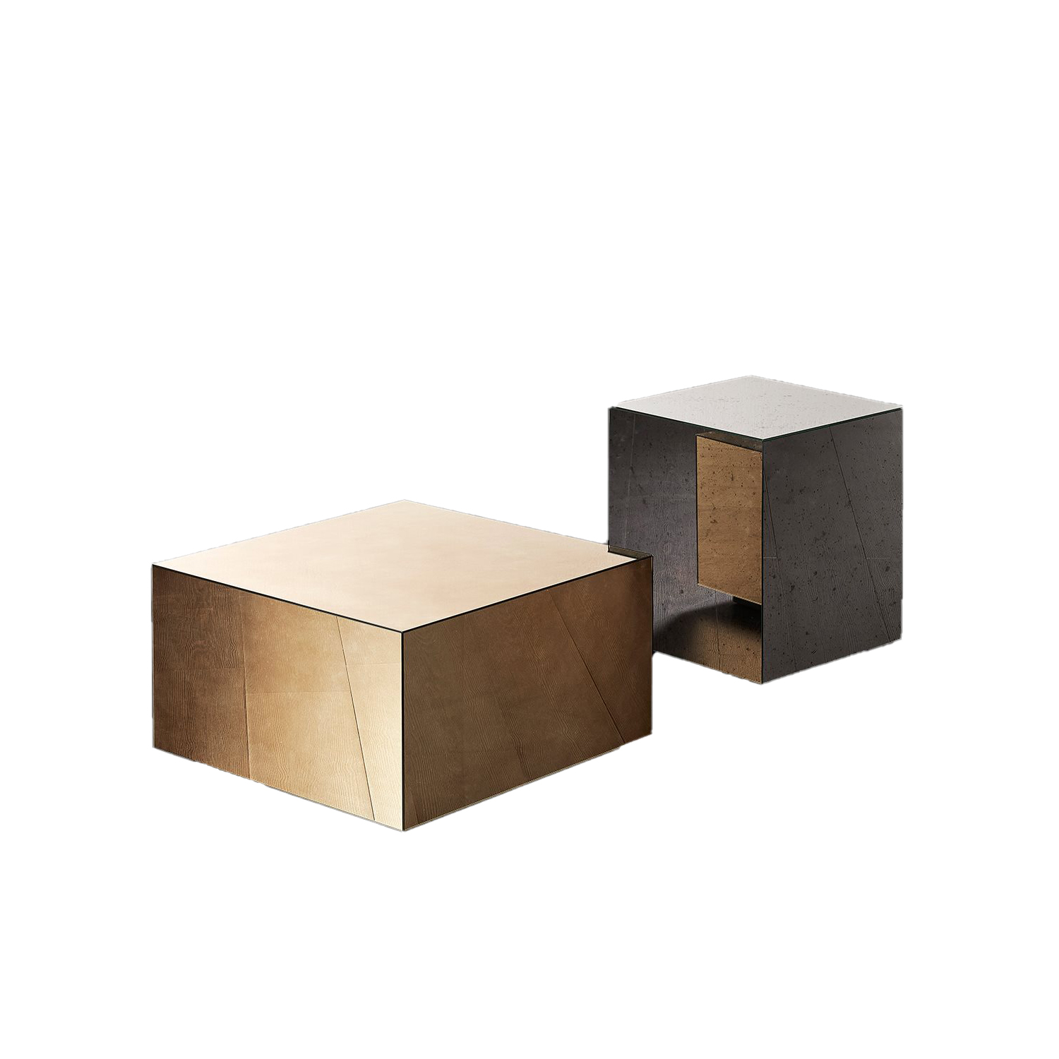 Belt Square Small Low Table  - Belt are low coffee tables with wooden structure and bronzed brass perimeter band.‎ The top is available in matt lacquered oak veneer or glossy bronzed marble mirror glass.‎ | Matter of Stuff