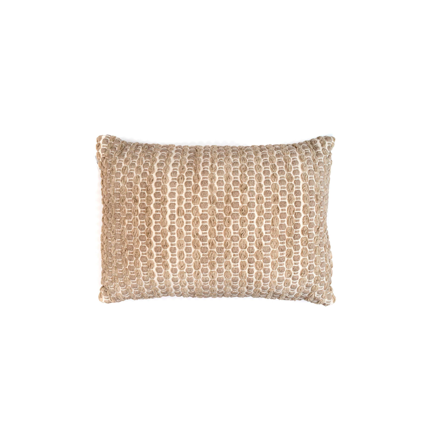 Estrela Terra Cotton Cushion Large - The Flame Sustainable Collection is made from a selection of organic cotton fibres, eco-friendly, hand-woven or elaborated using traditional hand-loom techniques. Carefully knitted within a trained community of women that found in their craft a way to provide their families.  This collection combines Elisa Atheniense mission for responsible sourcing and manufacturing. Each piece is meticulously hand-loom by artisans who practised methods with age-old techniques. With a minimal electricity impact, each item crafted is therefore unique and exclusive. Weavers and artisans are the ultimate lifelines of Elisa Atheniense Home Products.  The hand woven cotton, washable cushion cover is made in Brazil and the inner cushion is made in the UK.   | Matter of Stuff