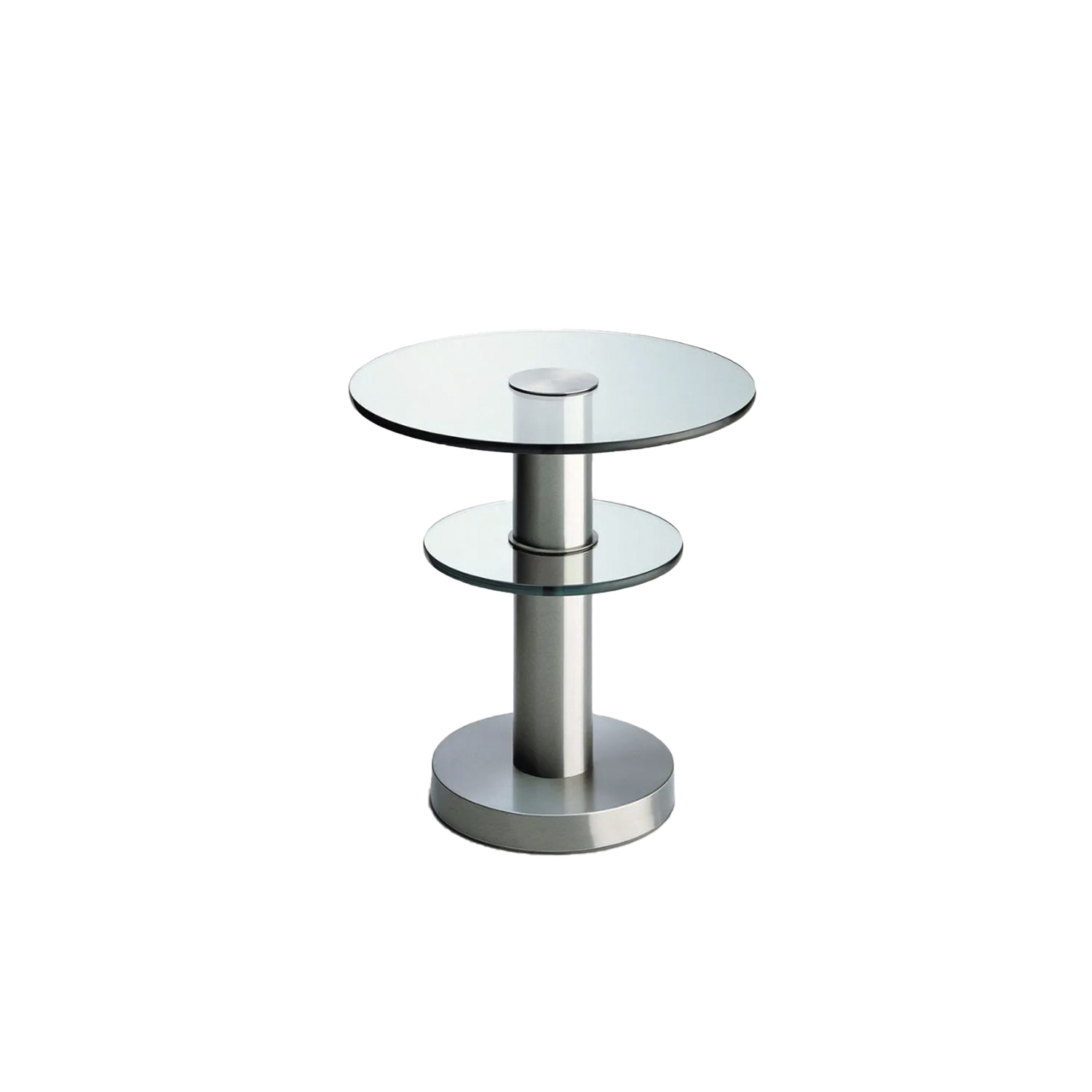 Tavolino Coffee Table - This coffee table was designed by Gio Ponti and is made from two discs in float glass, 15 mm thick. The structure is in brushed nickel-plated brass.  Coffee table with two disc made of float-glass. Frame made of brushed nickel-plated metal. | Matter of Stuff
