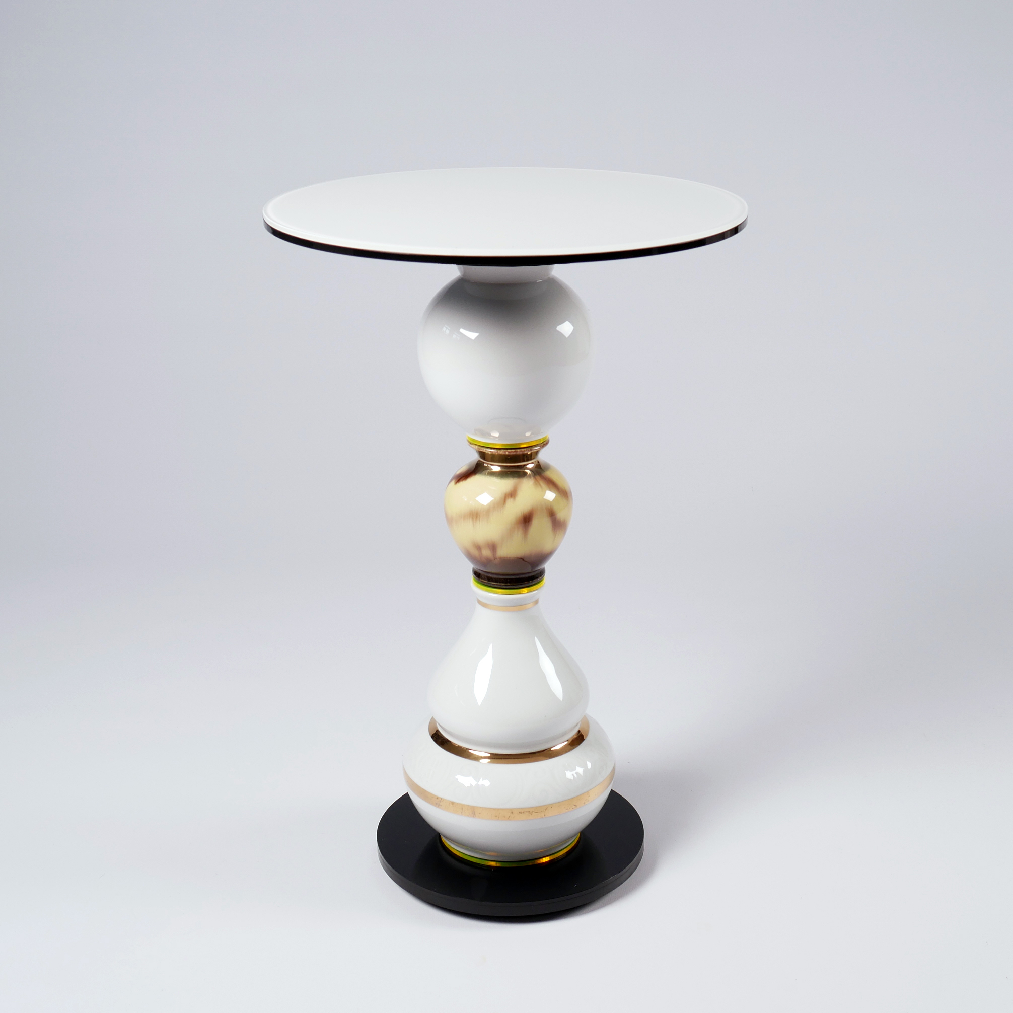 """Sommers Song - <p>Timeless """"one of a kind"""" side table made of vintage vases and new plexiglass and glass components. Stable construction made of metal and flexible components inside. Additional wight in the base.</p>  