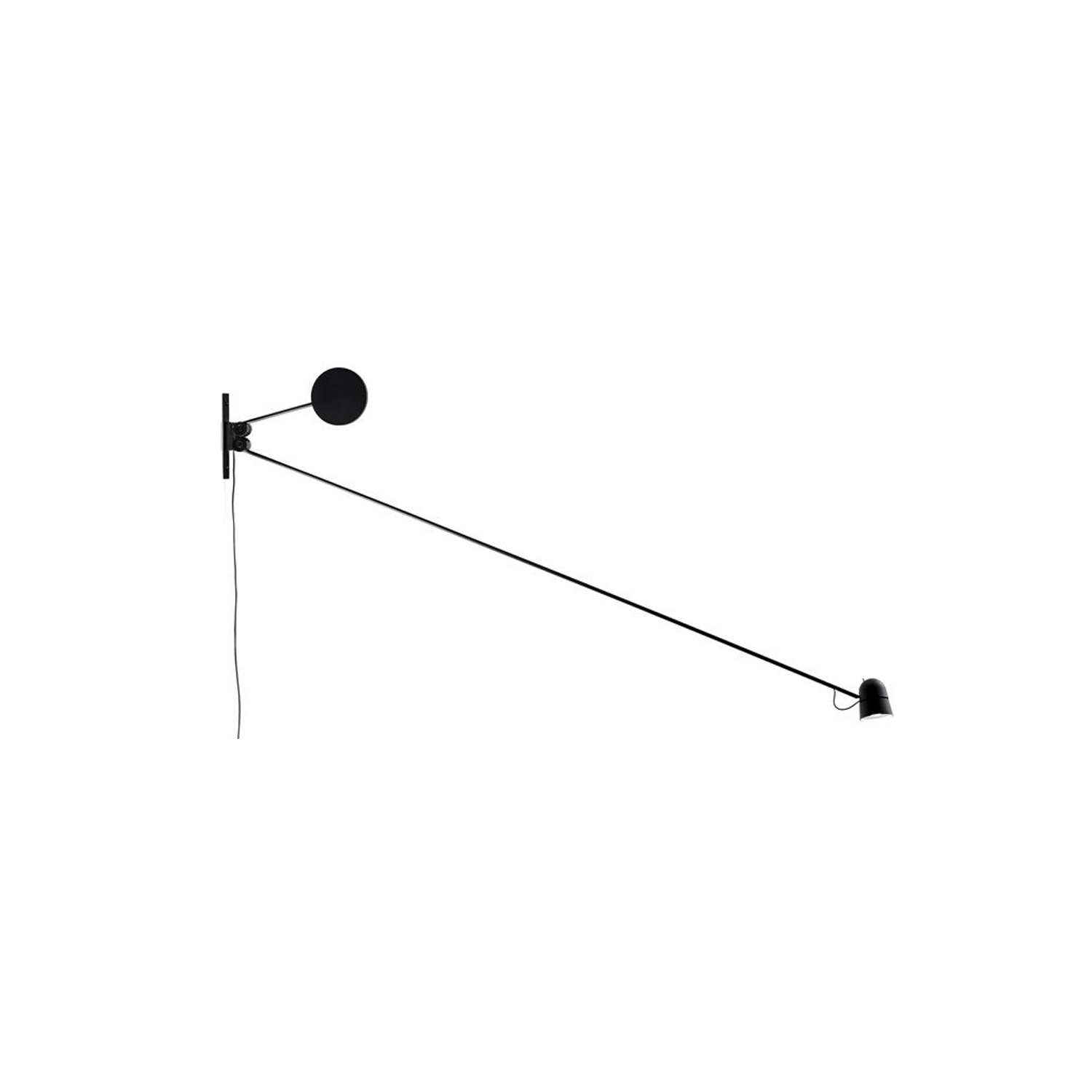 Counterbalance Wall Lamp -  An object that seems to defy the laws of physics. Positioned as desired in space, the essential Counterbalance LED lamp, with its position variation, suggests the dynamic equilibrium of a sculptural mobile. Equipped with a fluid balancing system using gear wheels, the counterweight compensates for the movements of the long arm and ensures stability of the diffuser. The unit is produced in matte black or white painted steel, with an aluminium cap. | Matter of Stuff