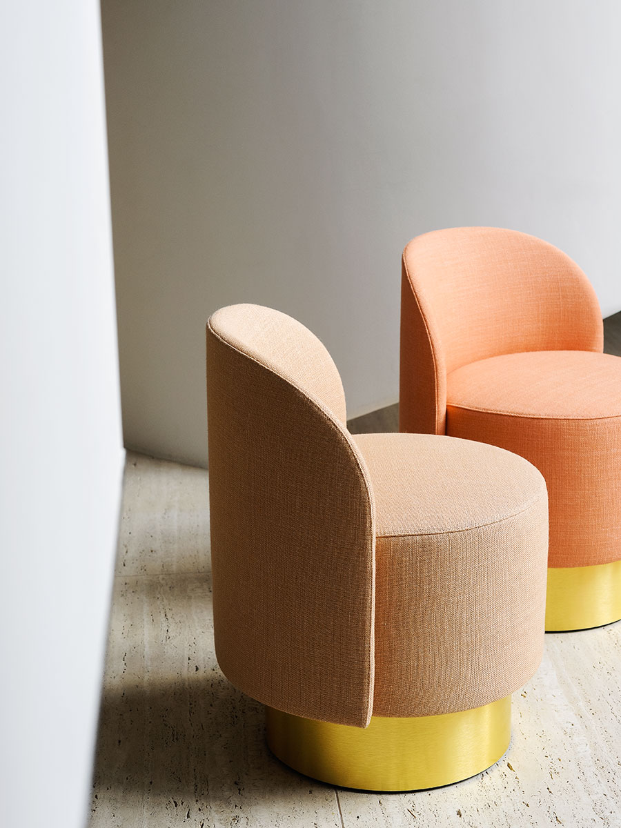 Pastilles Armchair - The new project with Studiopepe is a collaboration with designers Arianna Lelli Mami and Chiara Di Pinto, the creative minds behind the consultancy. Pastilles is a collection of small armchairs, ottomans and coffee tables, with soft and enveloping shapes that bring back childhood memories, the sweets. A contemporary reinterpretation of the classic cockpit armchair, with a sinuous shell that contains the seat and that gives excellent comfort to the design. Completed by two tables of different sizes and an ottoman, these elements create a matched family of shapes that can be used as a system or as single objects.  The minimum order quantity is two pieces. Please enquire for more information and prices.  | Matter of Stuff