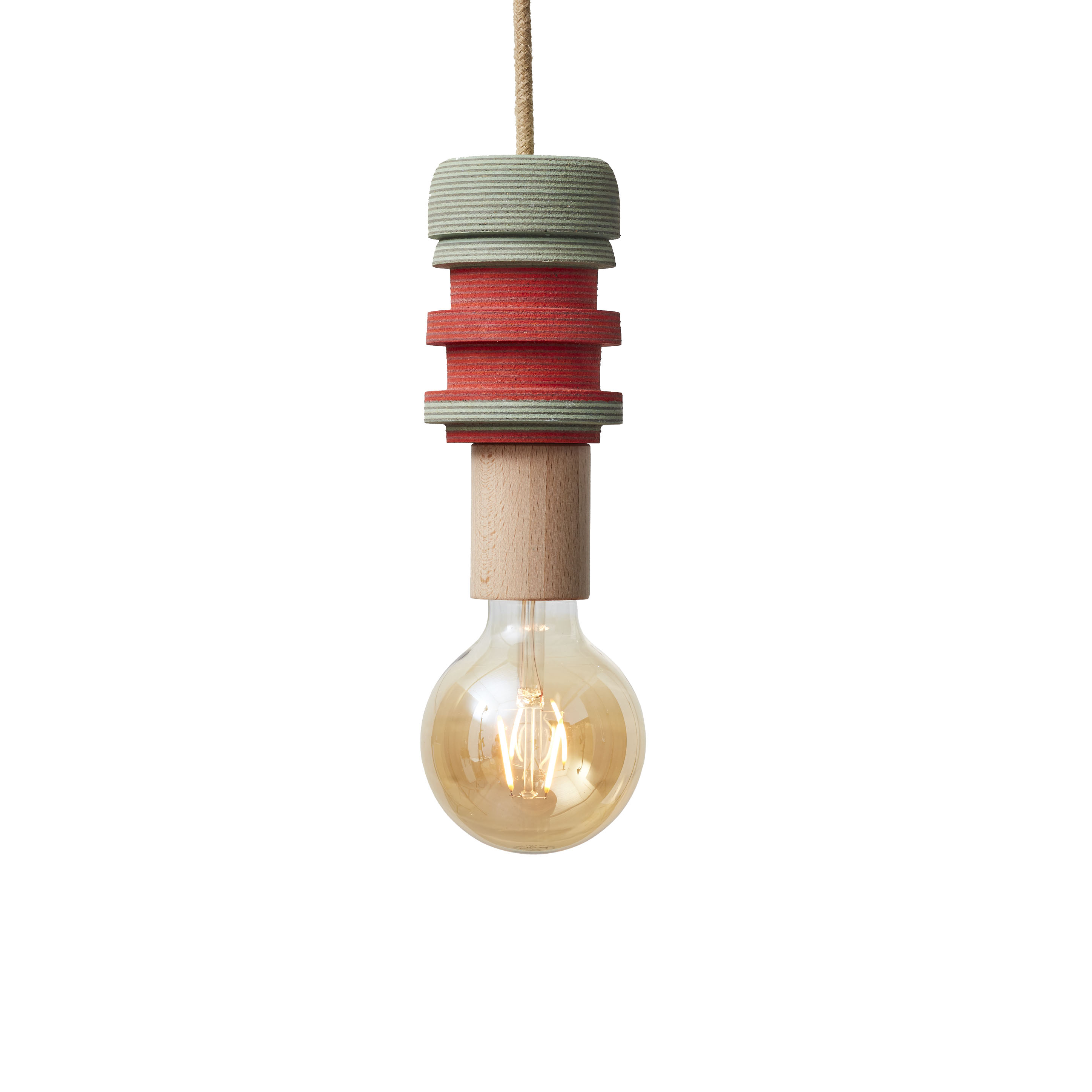 Lin pendant 3 - The LIN pendant lights have been turned by hand on a lathe from blocks of laminated squares of Linoleum flooring. These playful and subtly vibrant pendants have been finished with a natural jute covered lighting cord, a solid wood E27 fitting bulb holder and a standard 3 pin plug. Statement yet welcoming lighting to brighten up interior or commercial spaces.  | Matter of Stuff