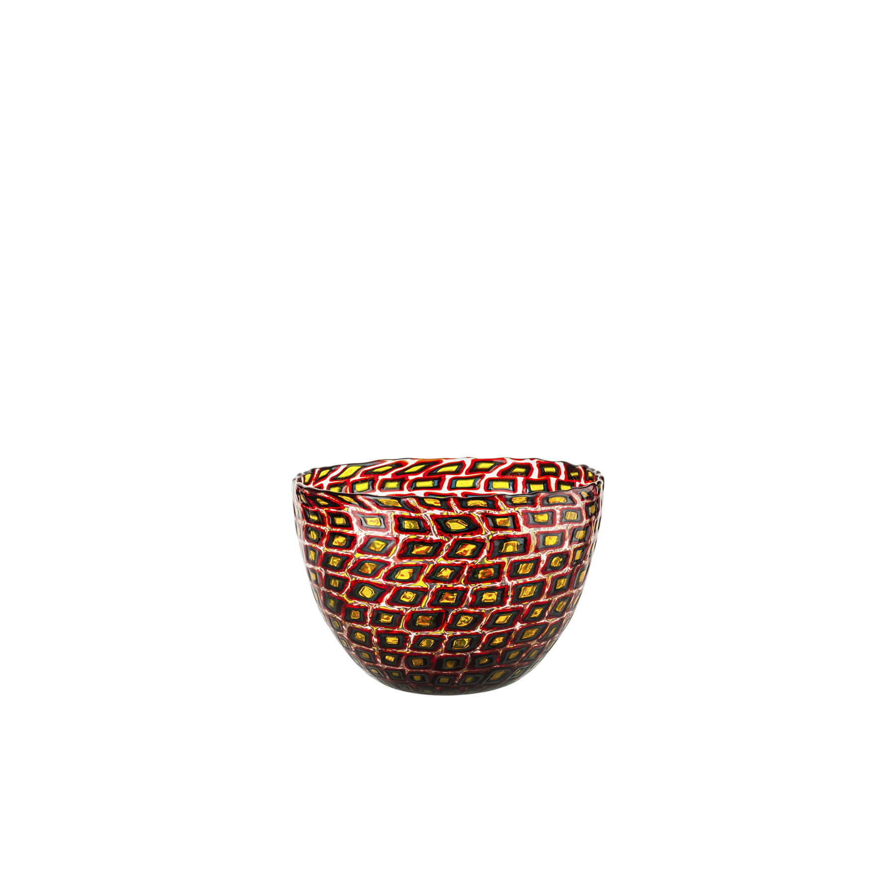 "Murrine Romane - The colour arrangement creates unique effects evoking a dreamlike world that was once the reality. The shades of red, green and yellow of the frescoes that once adorned Ancient Roman residences and palaces turned into glass in 1940. Yellow dots are enclosed in concentric black and red frames floating on a clear background. The generous bowl shape is enlivened with graphic and chromatic effects obtained with the ""murrine"" technique. In the form of a unique glass vase and a bowl by Carlo Scarpa.