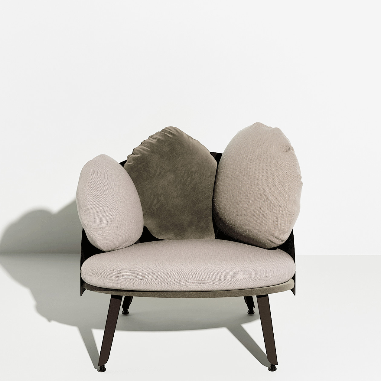 Nubilo Lounge Chair - Designed by Constance Guisset, NUBILO is a sofa and lounge chair series in which the multiplication of cushions evokes the image of a cloud. Softness, comfort, velvet, are accentuated by the association of three high quality materials. The cushions vary in their size and form and ask to be played with. Attached to the sofa structure by elastics and pressure they can be moved and repositioned according to desire  | Matter of Stuff
