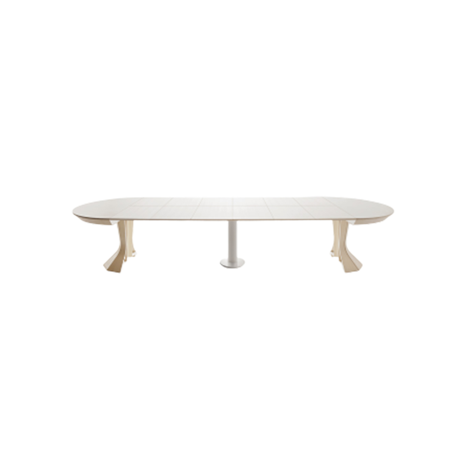 """Opera Round Extendable Table - Strong visual impact and contemporary taste, extensible """"Opera"""" doesn't just stand out for its statuesque aspect and its stately fascination, but also for the remarkable technical features that it internally hides. By opening, indeed, it reveals a central leg which gives extreme stability to the structure and a large surface.    Matter of Stuff"""