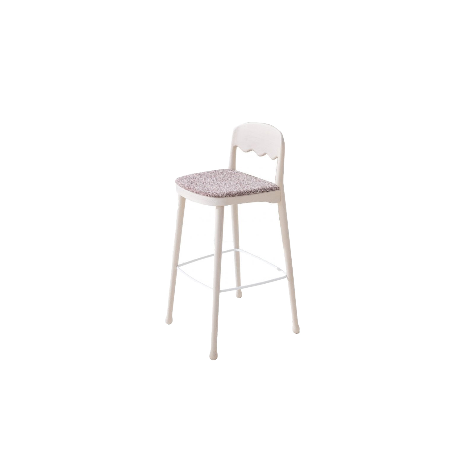 Frisee Upholstered Barstool - The Frisee Barstool is perfect for breakfast bars or indoor bars and would look aesthetically pleasing in a group for example in a two or a four. This Barstool has an upholstered seat which can be fabric, leather or you can choose your own material. The frame comes in either Ash or Beech and can be lacquered.  The wavy design of the back rest is unique yet simple, it keeps its ergonomic form while adding personality to the barstool. Please enquire for more information and finishes.   Matter of Stuff
