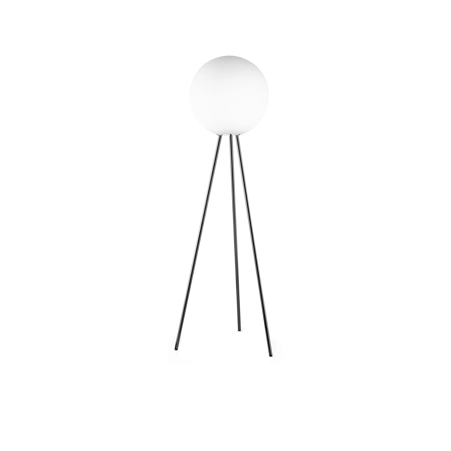 Prima Signora Floor Lamp - A magnificent globe in white blown glass crowns the chrome-plated tripod. The surprising arrangement of these understated lines produces a very well-balanced result