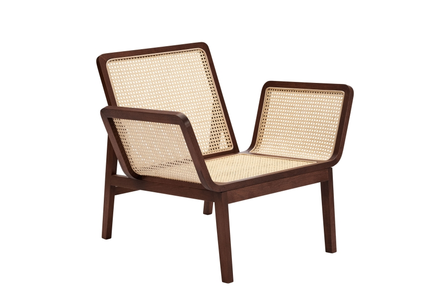 Le Roi Lounge Chair - Le Roi Lounge Chair is made from solid oak with inlaid French rattan. The collection is a minimalistic interpretation of rattan furniture from the French colonial period, merged with well known Scandinavian furniture archetypes. The tactile French rattan creates a translucent surface highlighting the beauty of a simple wooden construction.  The Le Roi Chair comes in Natural and Dark Stained oak with or without a loose seat cushion for extra comfort.   Matter of Stuff