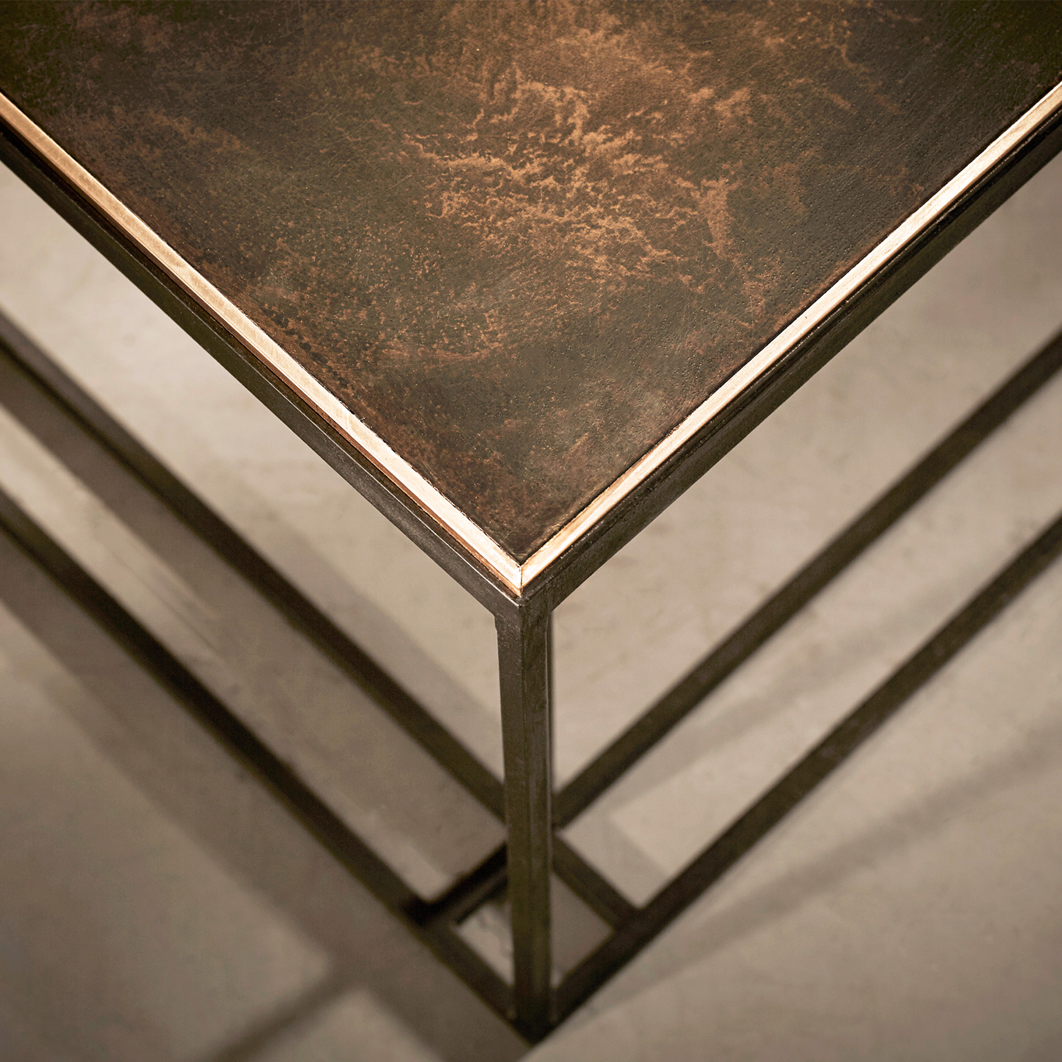 Brass Binate Coffee Table - The Brass Binate Coffee Table comes in blackened steel and patinated brass, with a polished brass trim (other finishes available). This product comes in two sizes to suit almost any room and is hand made and crafted to order in the North of England. Please enquire for more information and for custom sizes .</p>  | Matter of Stuff