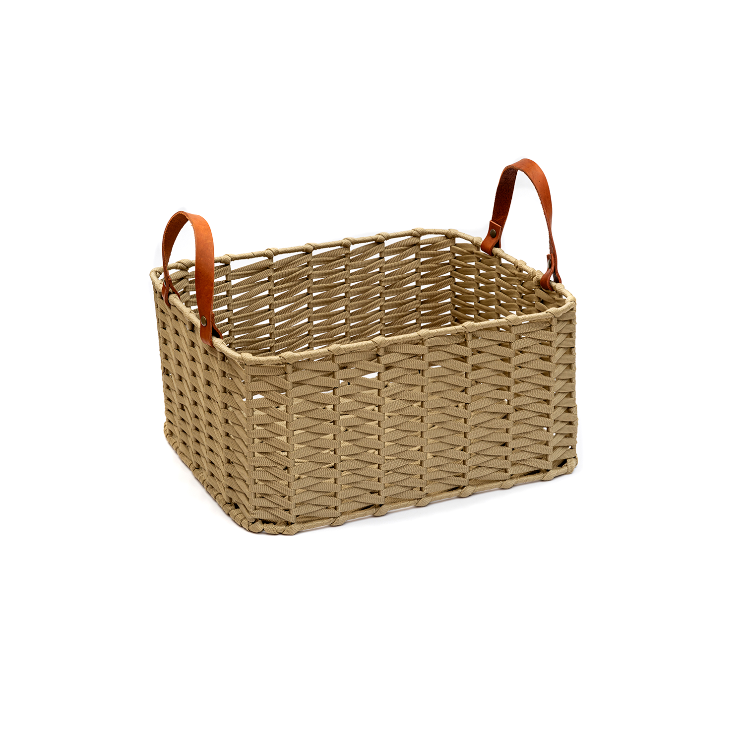 Ocean Nautical Basket Rectangular - The Ocean Nautical Basket is carefully knitted within a trained community of women that found in their craft a way to provide for their families. The outdoor collection is made with synthetic fibres, resistant to weather exposure.  Hand woven nautical cord in metal base and leather handles, made in Brazil.   Please enquire for more information and see colour chart for reference.  | Matter of Stuff
