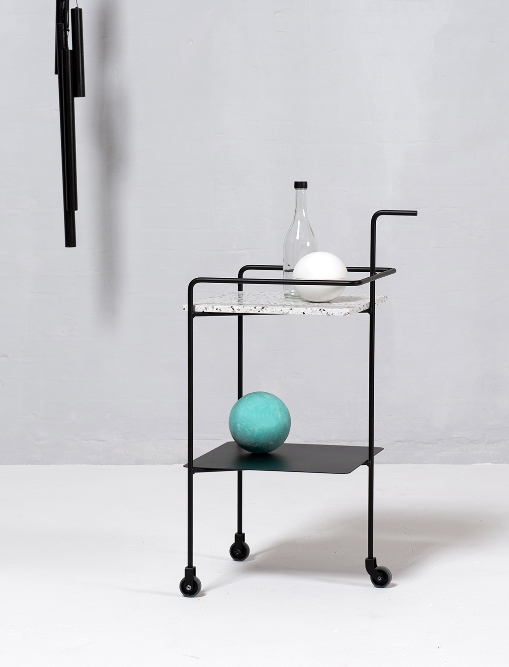 Confetti Trolley - <p>The Confetti Trolley is a reinterpretation of the classic mid-century drinks trolley by a Turkish architect & designer Derya Arpac. The design pairs a custom Terrazzo top with a powder coated steel frame. It makes a perfect companion for afternoon cocktails; or - a simple and sturdy side table.</p>  | Matter of Stuff
