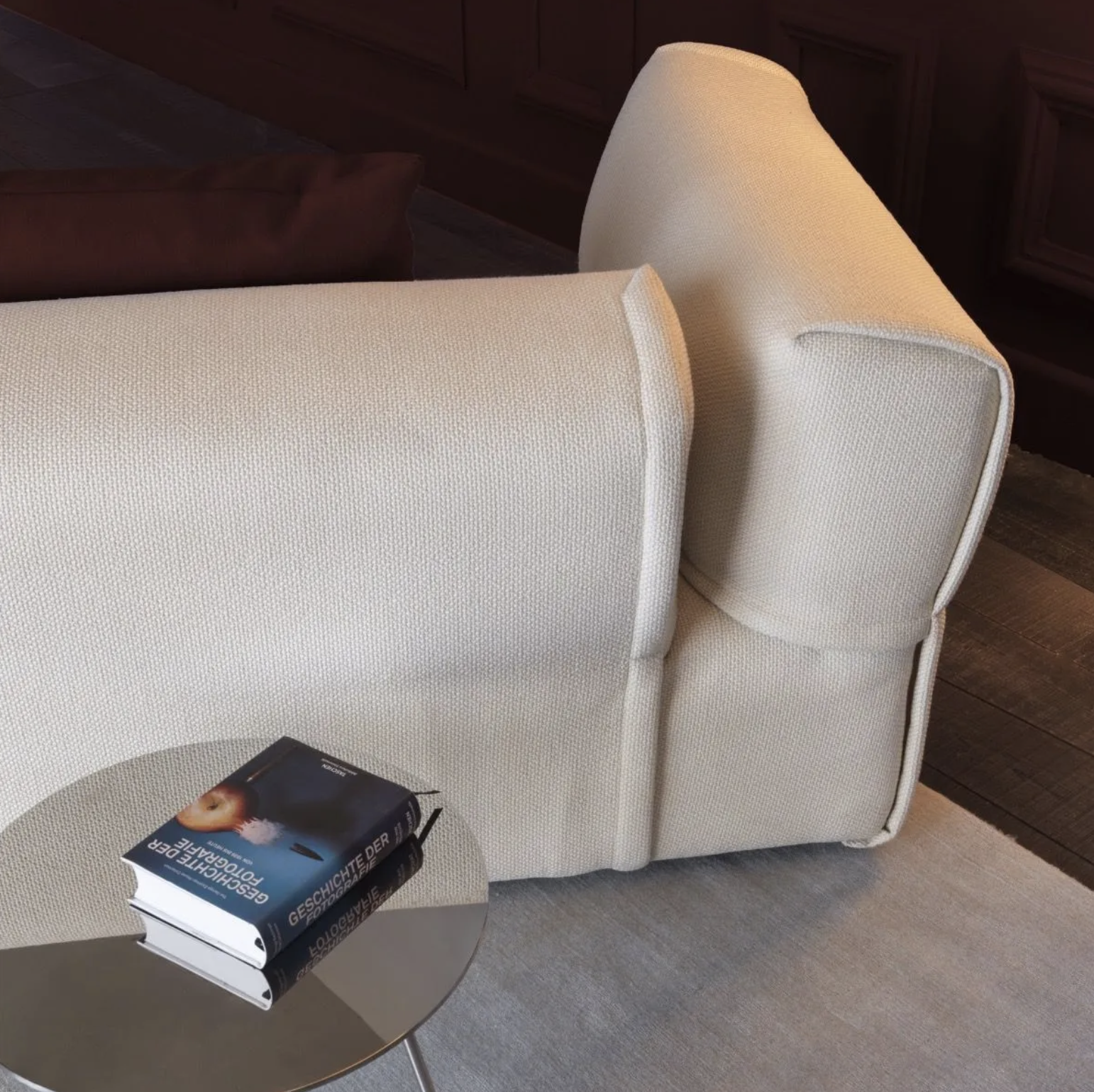 Rever Three Seater Sofa - Rever features plump, generous curves and proportions. The original way the armrests are fitted - a fundamental feature of this sofa – is paired with special attention to detail: the slightly padded edge looks as if it comes from a fashion house because it is inspired by the lapel of jackets and the flap of pockets. Rever is an extremely versatile sofa. The large day beds and the comfortable poufs make it perfect for moments of enjoyable togetherness and play.   Matter of Stuff