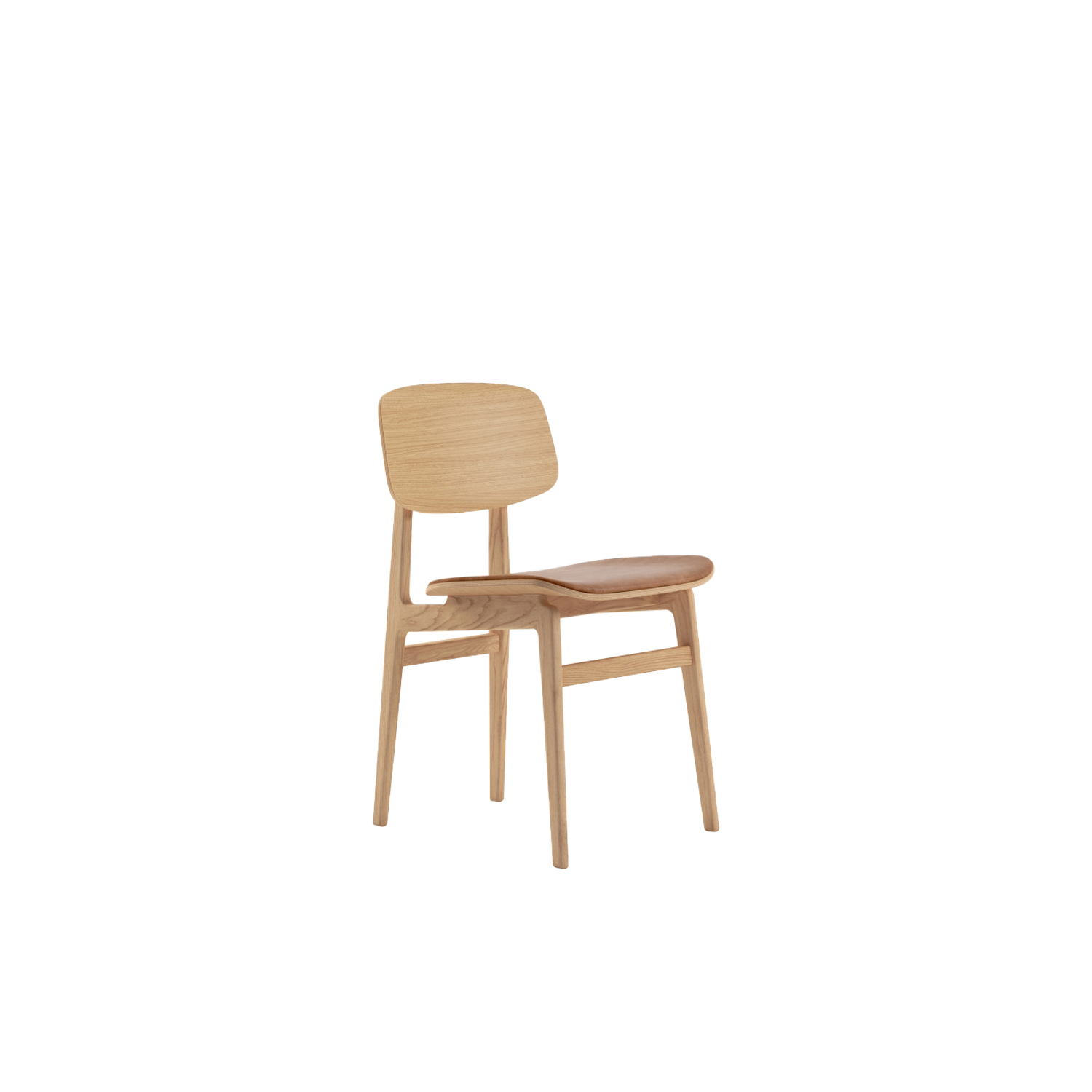 NY11 Dining Chair Upholstered - Inspired by traditional Danish elementary school chairs, the NY11 Dining Chair has a frame hand-crafted from solid oak and a seat of laminated oak veneer. The Chair came to life when designers Rune Krøjgaard and Knut Bendik Humlevik went on a mission to create a modern take on the Scandinavian dining chair. Just like a school chair it had to be both comfortable and very durable. The result is a simple and honest chair with a timeless expression.