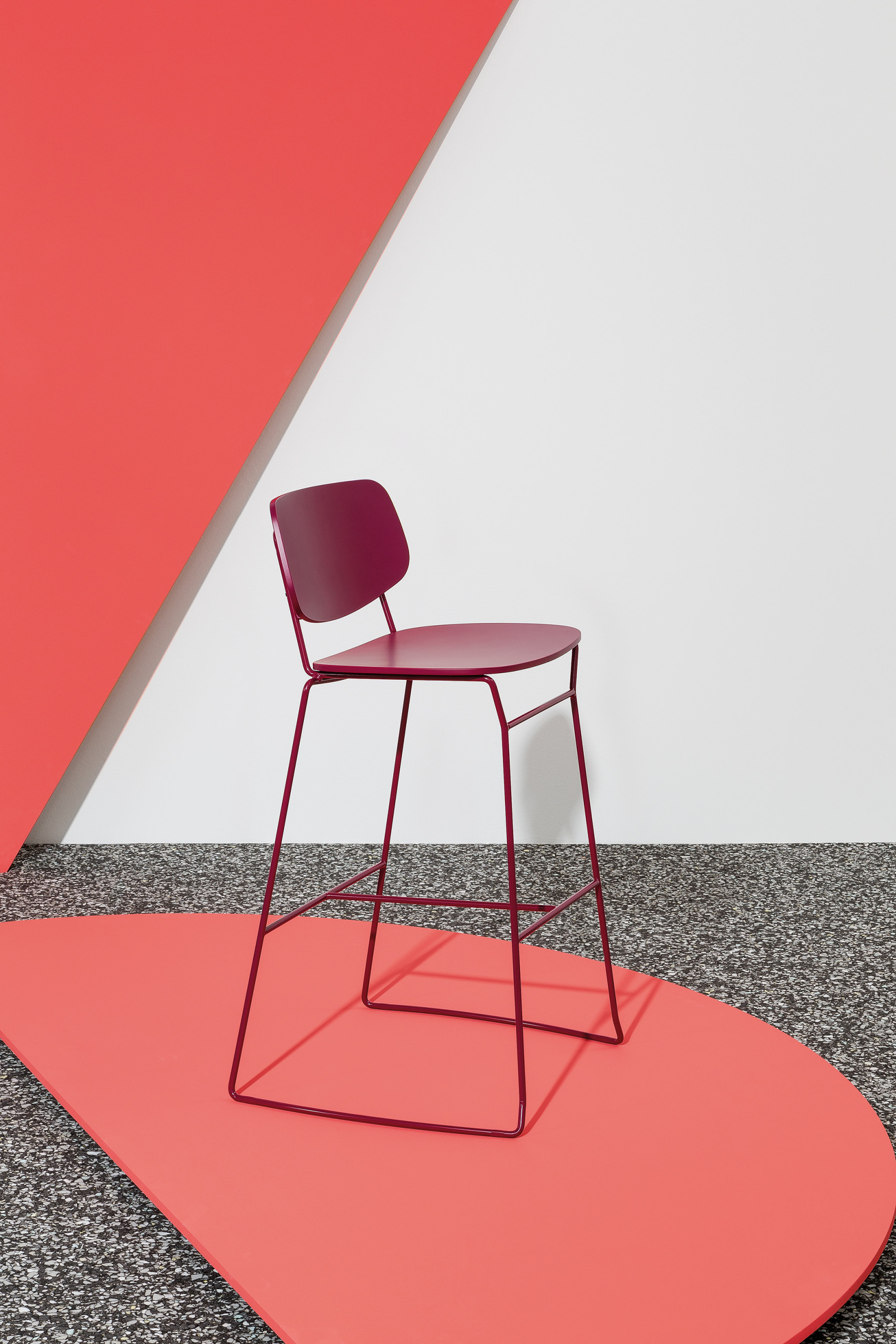 Doll Upholstered Barstool - <p>Barstools with frame in stained or lacquered beechwood or in lacquered steel, available also with upholstered back and seat. A collection of dollies, as the name suggests. A complete range of chairs, armchairs, lounge chair, barstool and table, with alluringly sweet lines. The Doll's sleek lines become even more embracing in the enveloping lounge versions.</p>  | Matter of Stuff