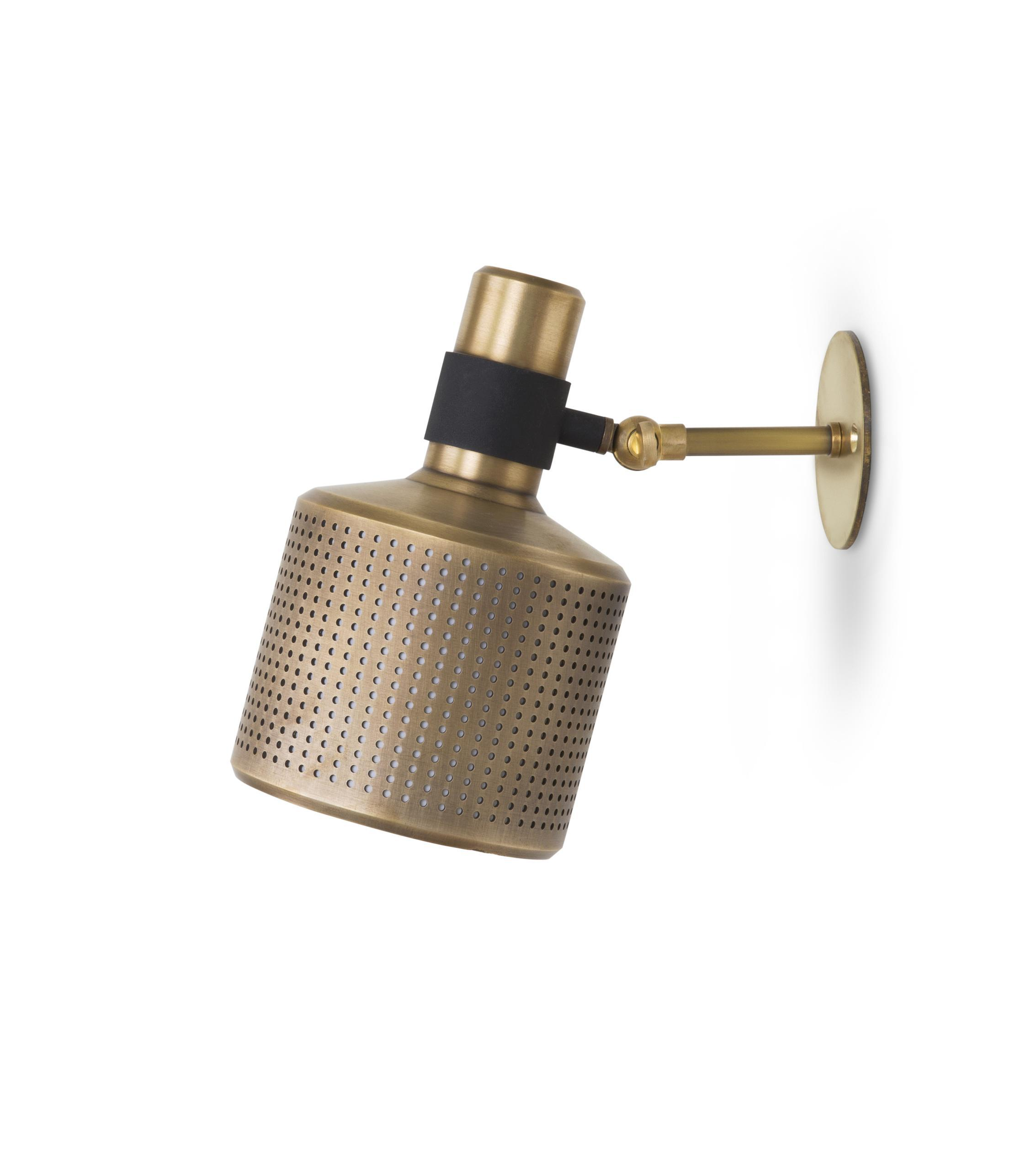 Riddle Wall Light - Single - Featuring an adjustable, perforated machined brass shade with a fabric insert, the Riddle Single Wall Light emits a soft light that can be directed to wash the wall or positioned away to highlight the desired area. Available with a deep back plate if required.   | Matter of Stuff