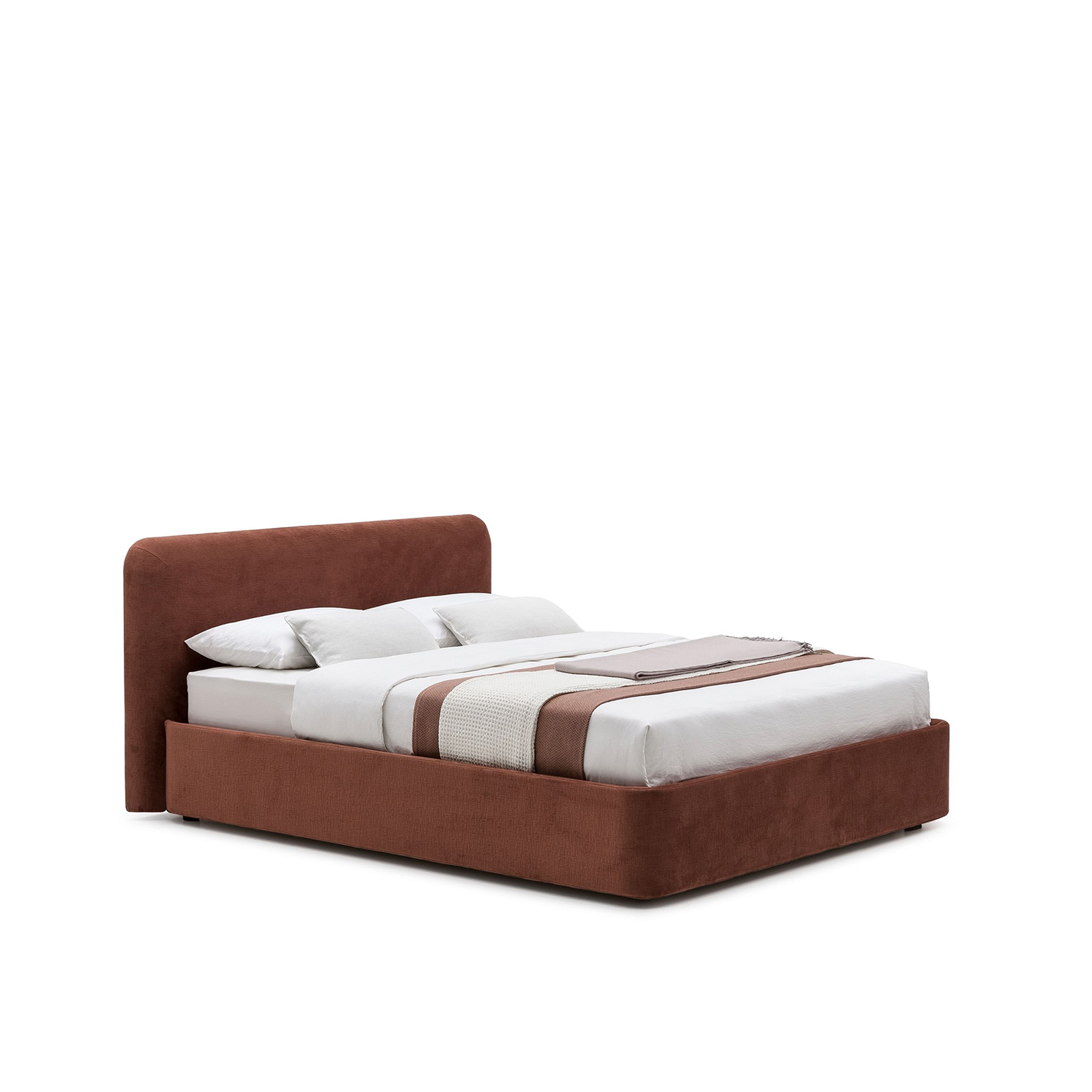 Joy Storage Bed  - Devoted to the pleasure of enjoying the nightlife, Joy plays with the opposition between the soft and important volume of the headboard and the bedframe, and the thin and geometric metallic legs.‎ The result is a pleasant and light feeling, with an additional touch of glamorous elegance, due to the possibility to customize its fabrics and colors.‎