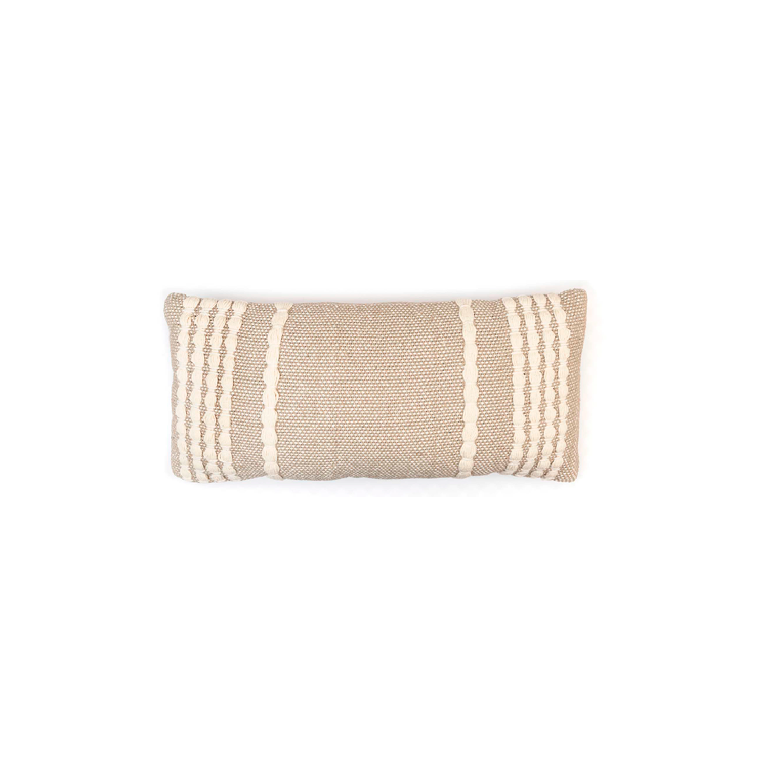 Lua Ecru Cotton Cushion Small - The Flame Sustainable Collection is made from a selection of organic cotton fibres, eco-friendly, hand-woven or elaborated using traditional hand-loom techniques. Carefully knitted within a trained community of women that found in their craft a way to provide their families.  This collection combines Elisa Atheniense mission for responsible sourcing and manufacturing. Each piece is meticulously hand-loom by artisans who practised methods with age-old techniques. With a minimal electricity impact, each item crafted is therefore unique and exclusive. Weavers and artisans are the ultimate lifelines of Elisa Atheniense Home Products.  The hand woven cotton, washable cushion cover is made in Brazil and the inner cushion is made in the UK.   | Matter of Stuff