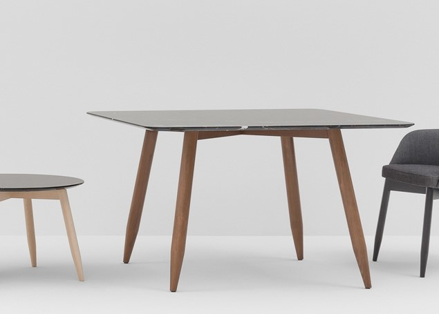 Spy Square Table - <p>A complete range of tables, each with the unmissable leg feature, with frames in stained or lacquered beechwood and top in lacquered mdf or white or black marble.From the coffee tables at two heights, through a stylish revisitation of the refectory table, to standard round and square shapes.</p> There is an option of a square table or a round table. Both tables can come with a Lacquered MDF White, Lacquered MDF Black, White Carrara Marble or Black Marqunina Marble table top with either Stained Beech or Lacquered Beech Legs. Please enquire more more information and prices  | Matter of Stuff
