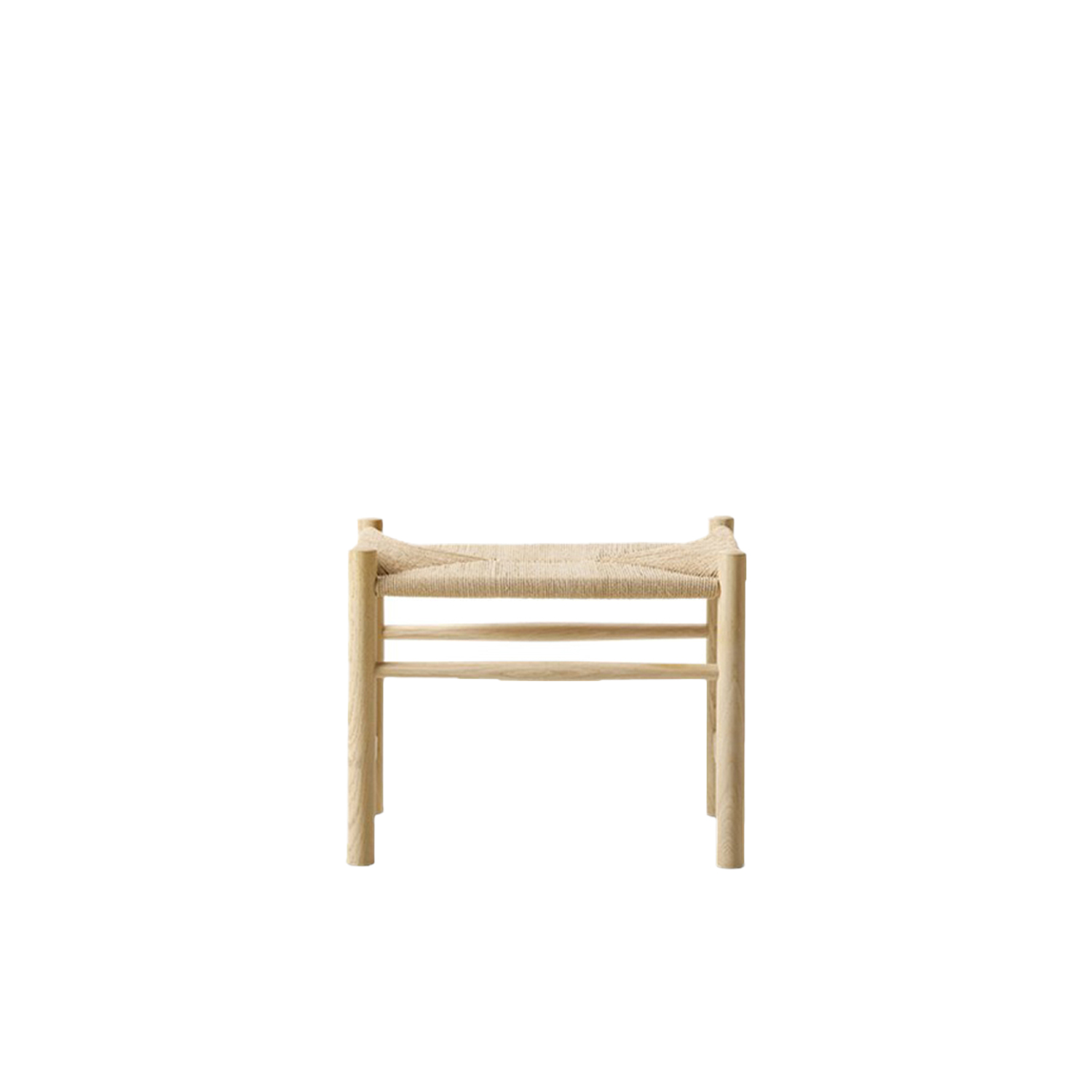 Wegner J16 Stool - Wegner's simple corded seat stool is an example of the Danish tradition of designing modern furniture using sticks and dowels. It can be used as a footstool as well as a standalone seat. | Matter of Stuff