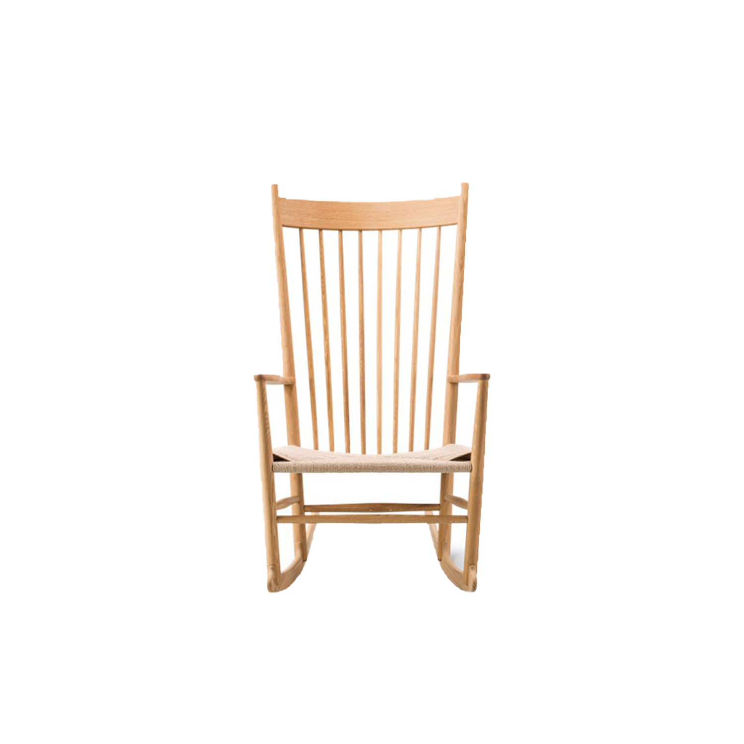 Wegner J16 Rocking Chair - Designed in 1944, Wegner 's rocker with the sensually curved arms was inspired by traditional Windsor and Shaker furniture, fused with Wegner's poetic lines.   | Matter of Stuff