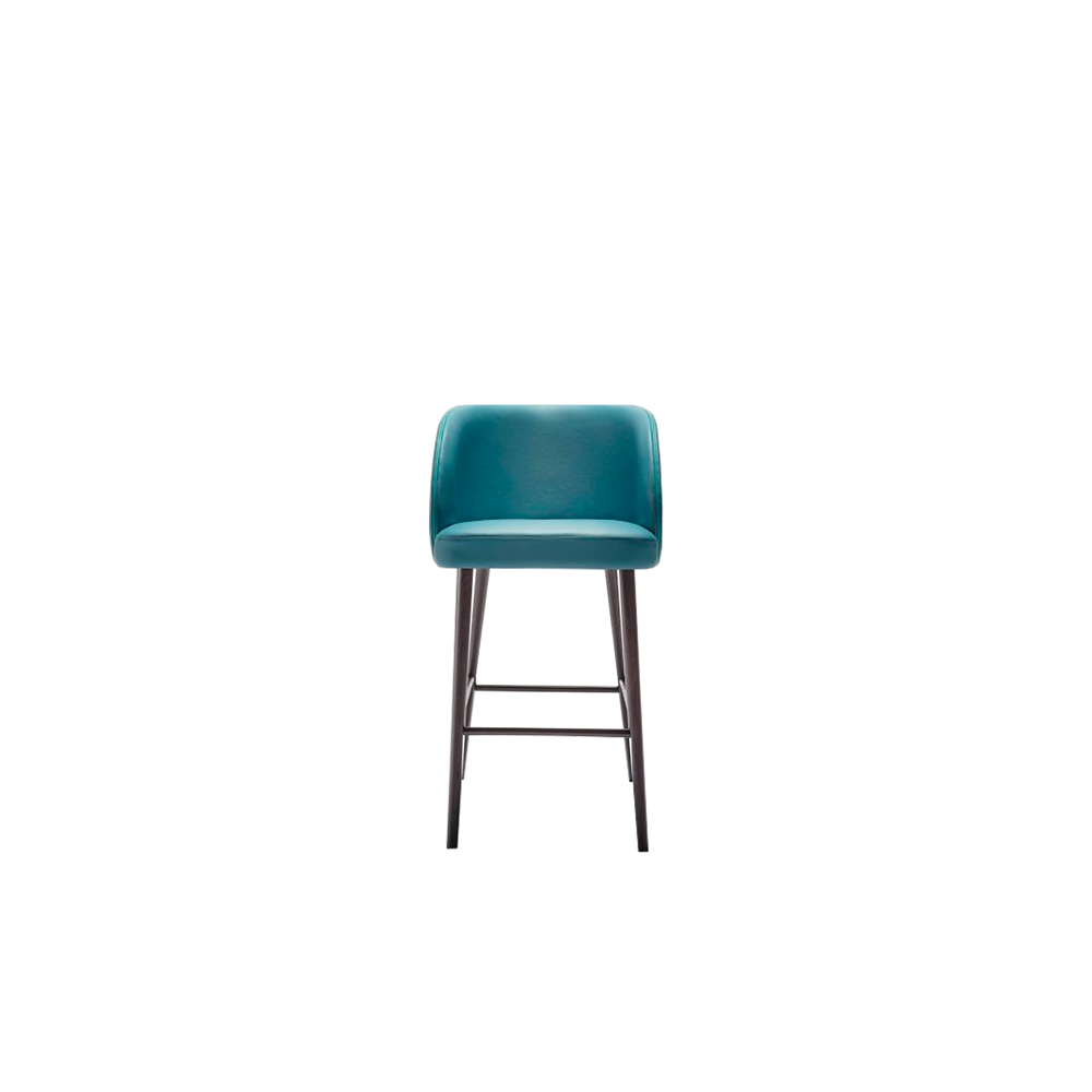 Kyoto Stool - Kyoto collection is made up of armchair, lounge and stool. The curved backrest gives a very smooth line: it protects and wraps as a shell, providing an excellent comfort.   Wooden legs can be customized in a range of finishes:                               RAL/NCS colour lacquering I Aniline RAL/NCS colour I Acrylic finish  | Matter of Stuff
