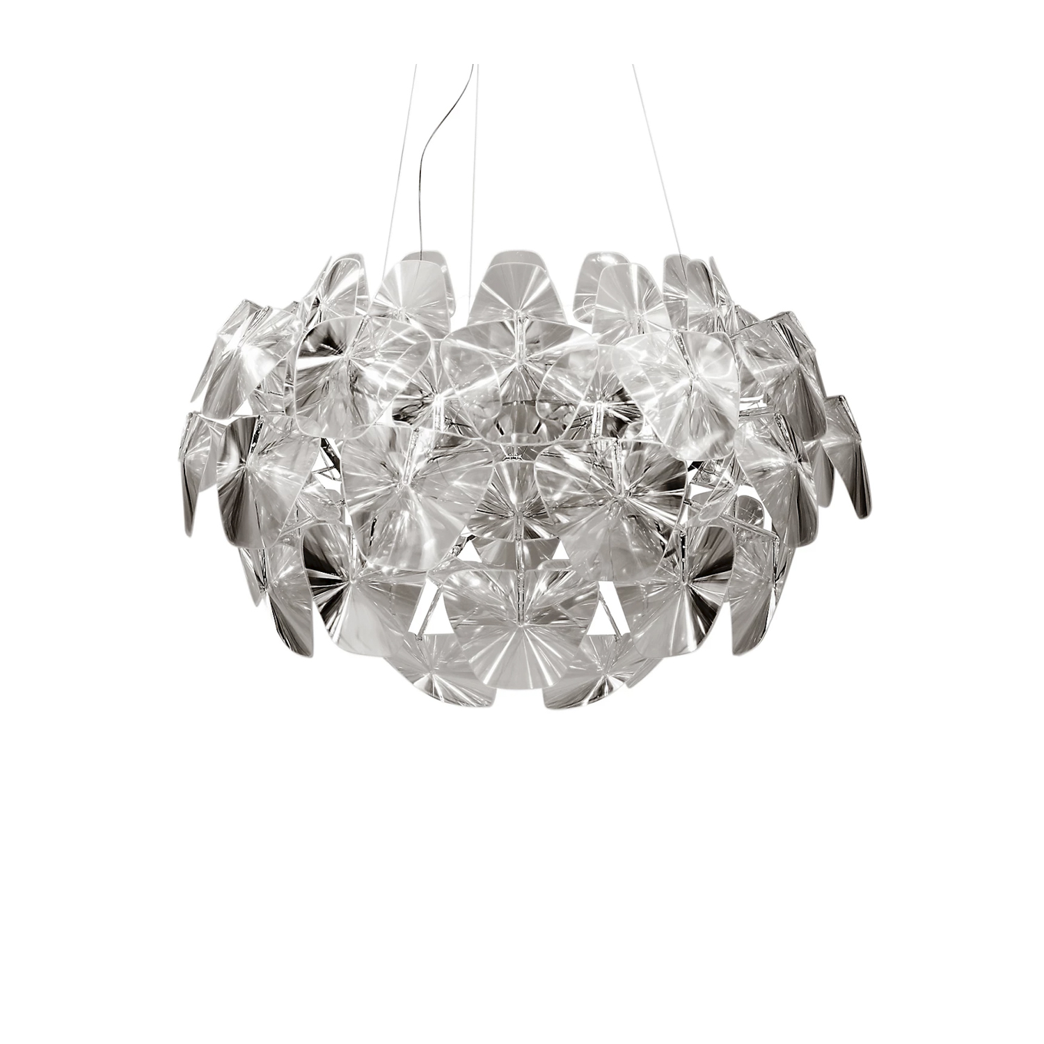 Hope Suspension Lamp -  Incredibly light and easy to dismantle, Hope revives the magic of traditional chandeliers, reinterpreted with sophisticated modern technologies and contemporary materials. The thin polycarbonate Fresnel lenses multiply the light, creating a pleasant, sparkling and festive atmosphere. | Matter of Stuff