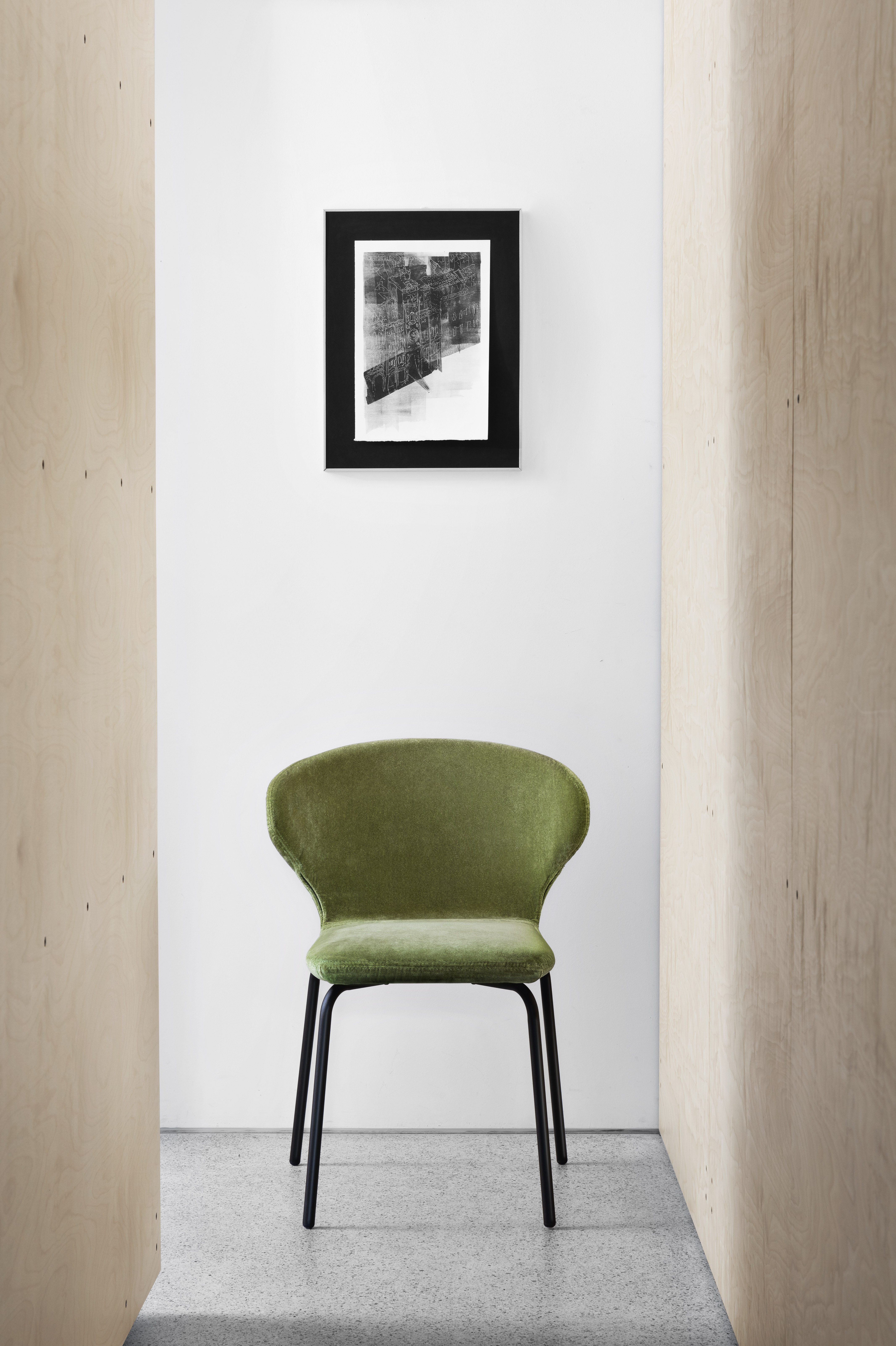 Mula Chair - Mula is recognised by its large backrest where two interesting wings hug the sides, revealing the chair's dynamic profile. The body's padding becomes part of the design, offering a product made with the utmost care, designed to last and to please over time. Chair with iron rebar metal base, varnished anthracite, black or copper. Seat and back are made in injected flame-retardant polyurethane foam, upholstered in the listed fabrics. The body is packed separately from the base. See list at the bottom for fabric colours and finishes. More fabric options available, please enquire.  | Matter of Stuff