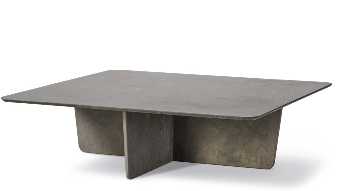 Tableau 1965 Coffee Table - The Tableau series in stone reflects a passion for natural materials that runs deep in our DNA, involving expert craftmanship that lies at the core of our company. With its graceful geometric contours and x-shaped base, Tableau creates a soft silhouette that exudes effortless elegance.  Stone is a new addition to select products in Fredericia's portfolio and Tableau is one of the first to be launched in stone.   It's quite an accomplishment to craft the table in stone, creating synergy with the soft-corned square top and the x-shaped base. Stone has a universal appeal as an exclusive material, with subtle differences in surface patterns unique to each stone.   Available in three versions, the Tableau series in stone makes for a subtle yet striking statement that's ideal in a variety of venues. Such as private homes, as well as luxurious hotels, upscale restaurants and exclusive lounges. Virtually any interior where you want to signal a look that's timeless and unquestionably elegant.   | Matter of Stuff