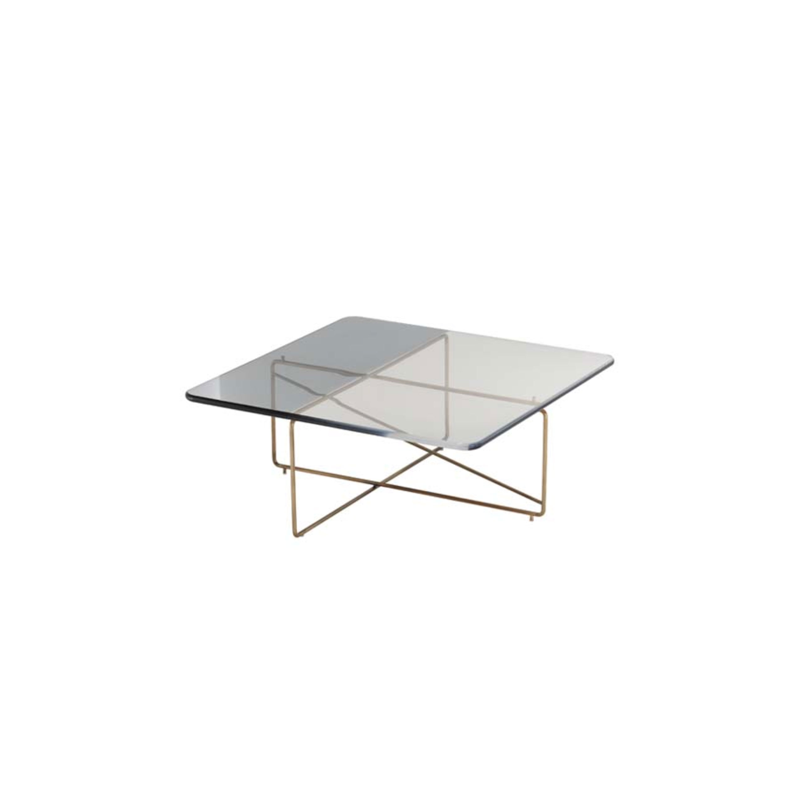 """Ametrino 02 Coffee Table - Side table with brass structures and top in bicolored methacrylate. Ametrino is part of Empirica Family. """"A creative process grown with the experience. There is a real connection between the human being and his creations, a chemical bond that is expressed through the unusual combination of elements that leads to an original and unexpected result. The Collection """"Empirica"""" is the result of a quick thought, an automatic gesture, a spontaneous sign, brass structures treated with special coating are mixed with methacrylate surfaces characterized by exclusive shades.""""  