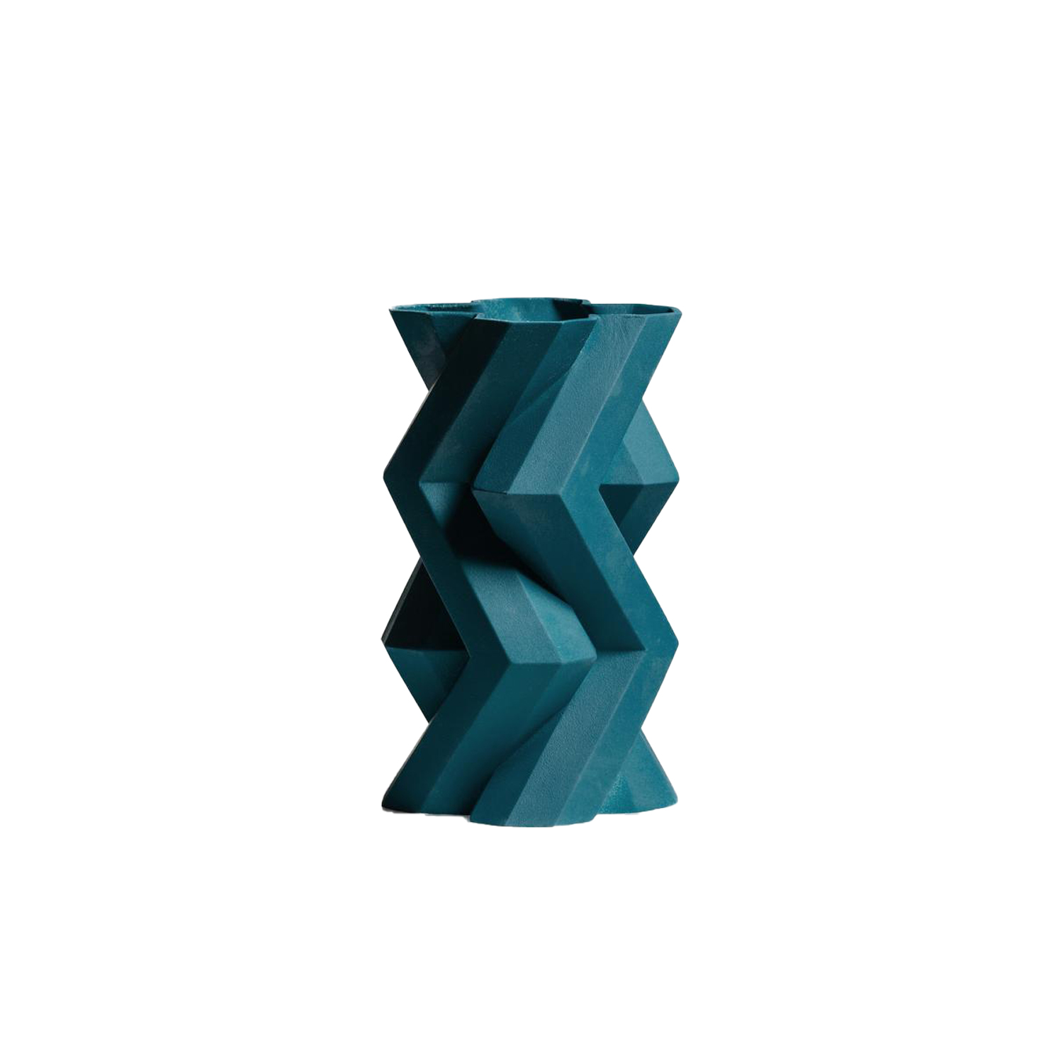 Fortress Tower Vase Blue - Designer Lara Bohinc explores the marriage of ancient and futuristic form in the new Fortress Vase range, which has created a more complex geometric and modern structure from the original inspiration of the octagonal towers at the Diocletian Palace in Croatia. The resulting hexagonal blocks interlock and embrace to allow the play of light and shade on the many surfaces and angles. There are four Fortress shapes: the larger Column and Castle (45cm height), the Pillar (30cm height) and the Tower vase (37cm height). These are hand made from ceramic in a small Italian artisanal workshop and come in three finishes: dark gold, bronze and speckled white.  | Matter of Stuff