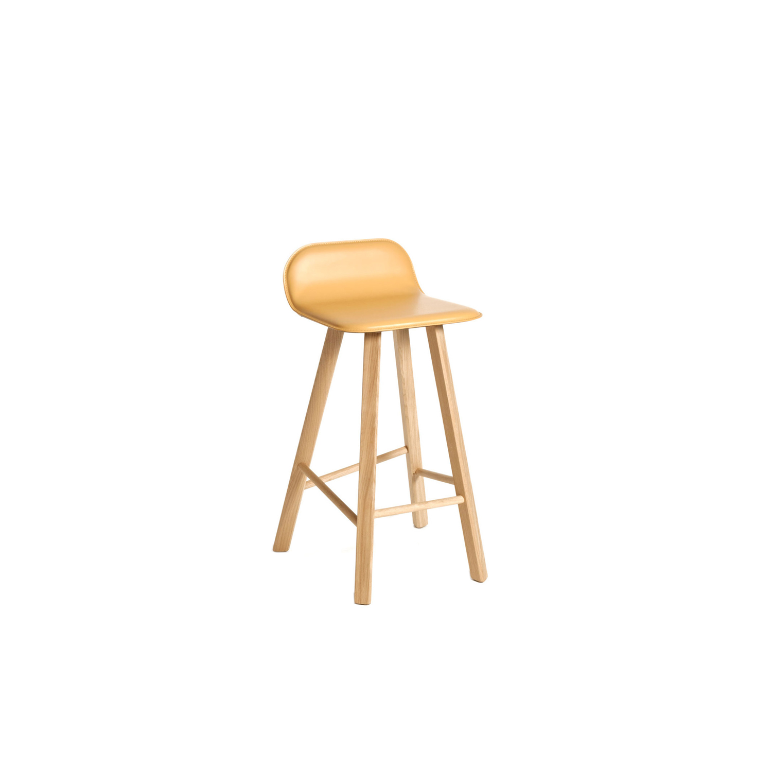 Tria Stool Low Back Upholstered  - Variation on Tria Simple, this stool is suitable both for homes and contract with the 2 version low back LB or high back HB. Bent plywood shell, available in 3 different variations  Legs in solid oak with triangular section. Shell in curved plywood oak veneered or upholstered with fabric or leather. Custom colour (min 4 units) and custom veneer (min 20 units).   A wide range of fabrics: cotton, felt, linen, eco-leather, wool, velvet or can be coated with C.O.M. fabric.   | Matter of Stuff