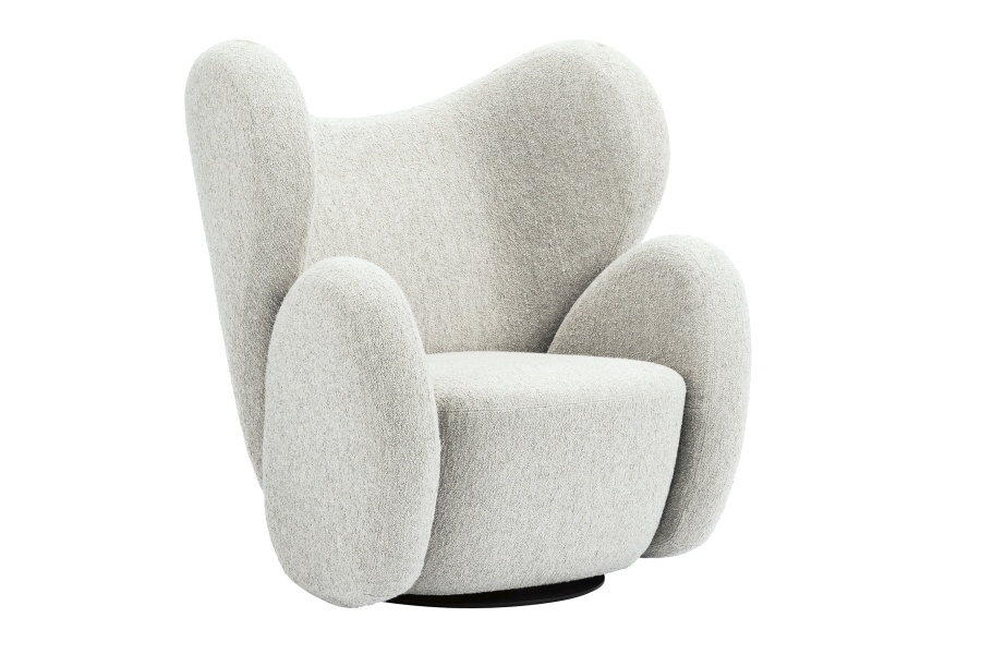 Big Big Lounge Chair - With its simplified block-like structure, the Big Big Chair is a reinterpretation of a classic Art Deco lounge chairs The voluminous shapes are divided into four fully upholstered objects, each piece designed according to ergonomic needs, and put together in a new constellation.  The chair comes on a swivel base and can be used in lounge areas and homes. The voluminous and organic shapes of the Big Big Chair provide comfort and a feeling of relaxation.  | Matter of Stuff