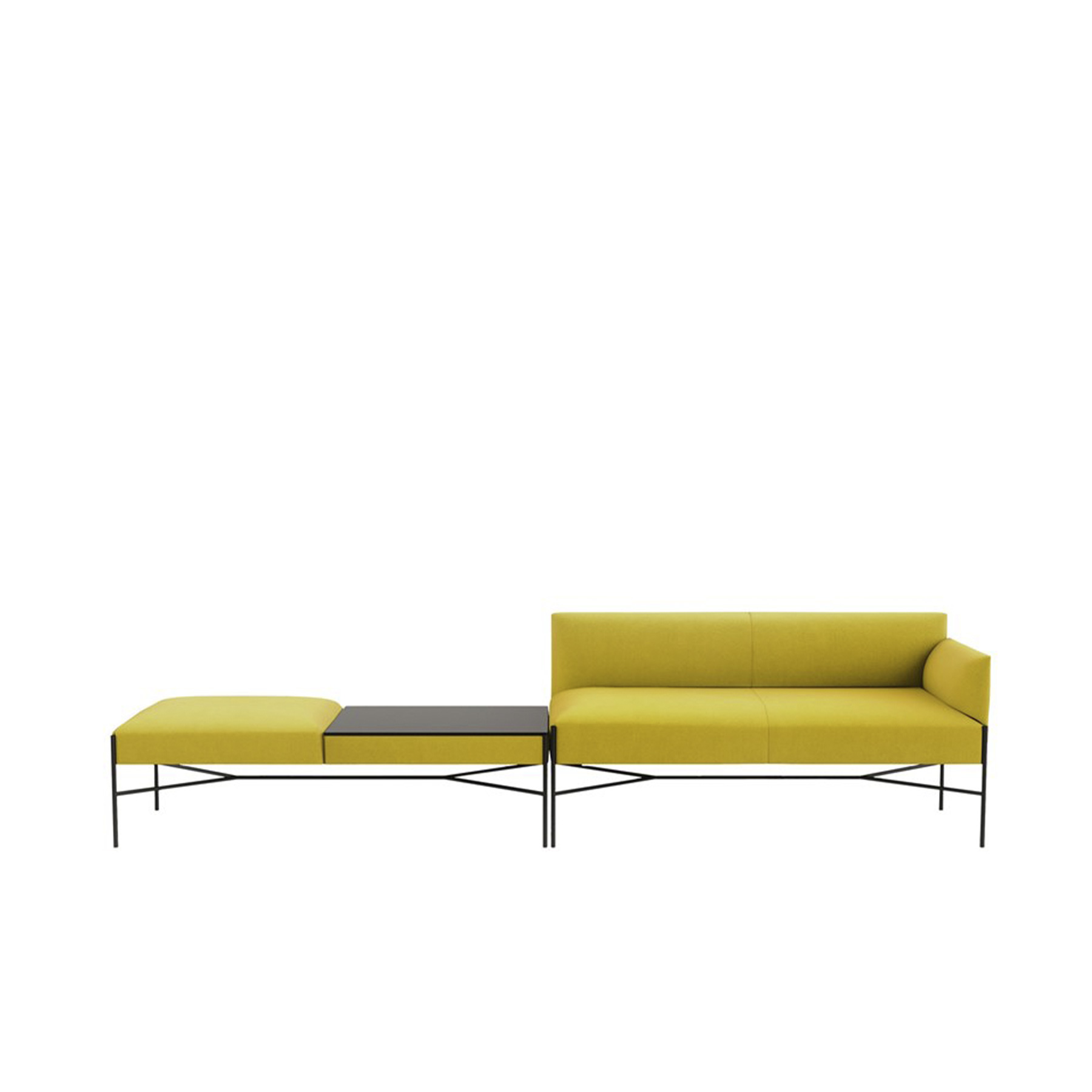 Chill-Out Sectional Sofa - Chill-Out is a system of sofas and armchairs that can stand alone or create a vast range of different linear or corner compositions. It features a light, slim base and cosy, comfortable cushioning, to which back and armrests can be added. An ideal combination both for domestic and collective spaces, particularly in the version with a built-in coffee table.  Gordon Guillaumier introduces his new project. Chill-Out is a modular system of sofas, armchairs, ottomans or small tables which express a long searched simplicity, a precision that is harmony and wellness, a modularity becomes total freedom of composition and setting of spaces. Chill-out system has been designed for both habitat and public spaces. It can be a single element or a modular composition with various shapes and dimensions. The thin and elegant proportions express lightness with its light, metallic base supporting the simple, clean and comfortable volumes. Sofas, armchairs and benches can be integrated with small square and rectangular tables realized in white Carrara or Basaltina marble always in mat fi nish. The metal frame is available in satin chrome or epoxy coated versions. Chill-Out as all our models of our collection is obtained from the value of materials used, the high skills of our workmanship and the freshness of our realization that cross the time.  This item is available in various sizes and combinations. Please enquire for more information and prices. | Matter of Stuff